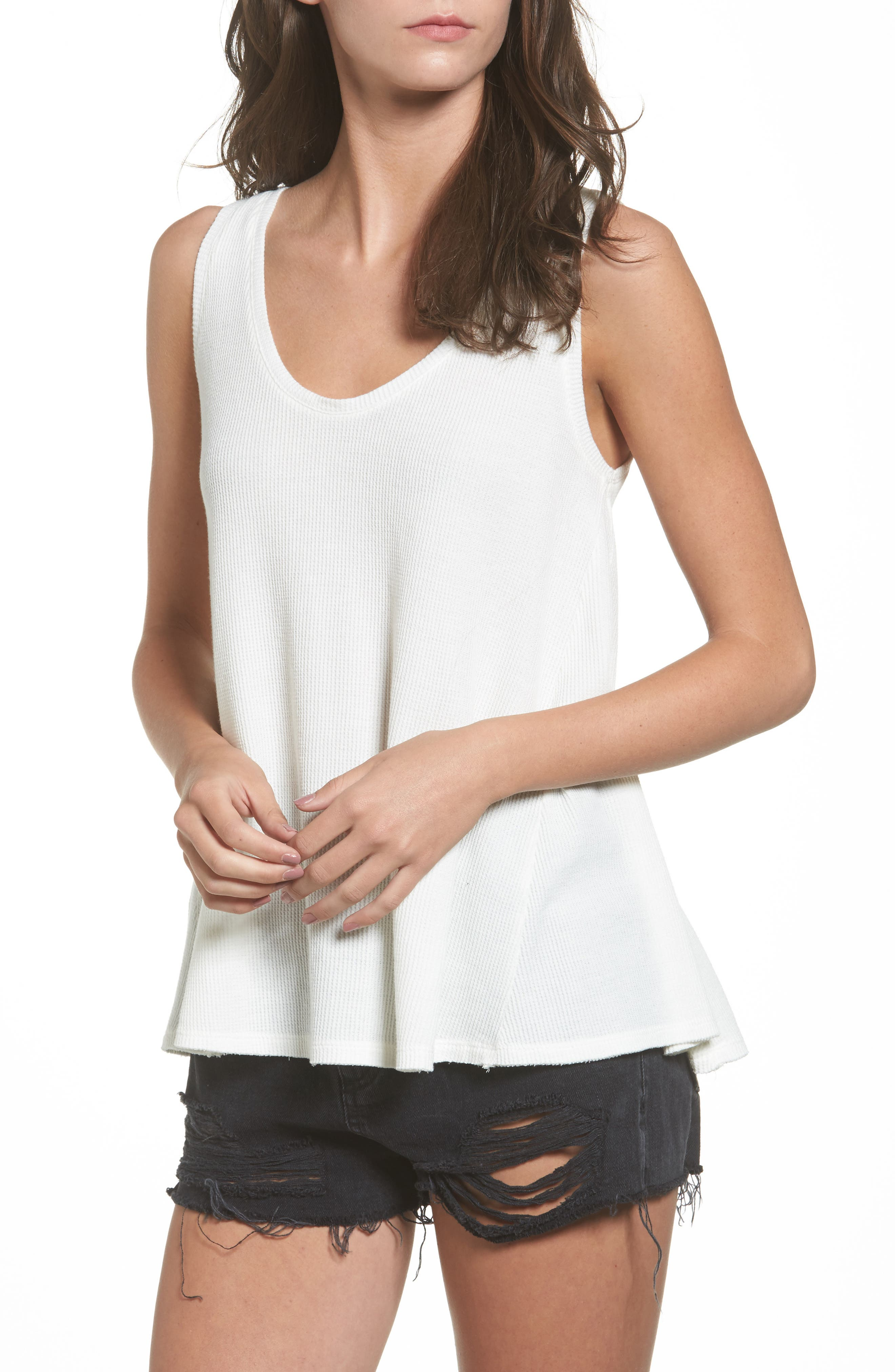 Washed Thermal Tank,                             Main thumbnail 1, color,                             Ivory Egret