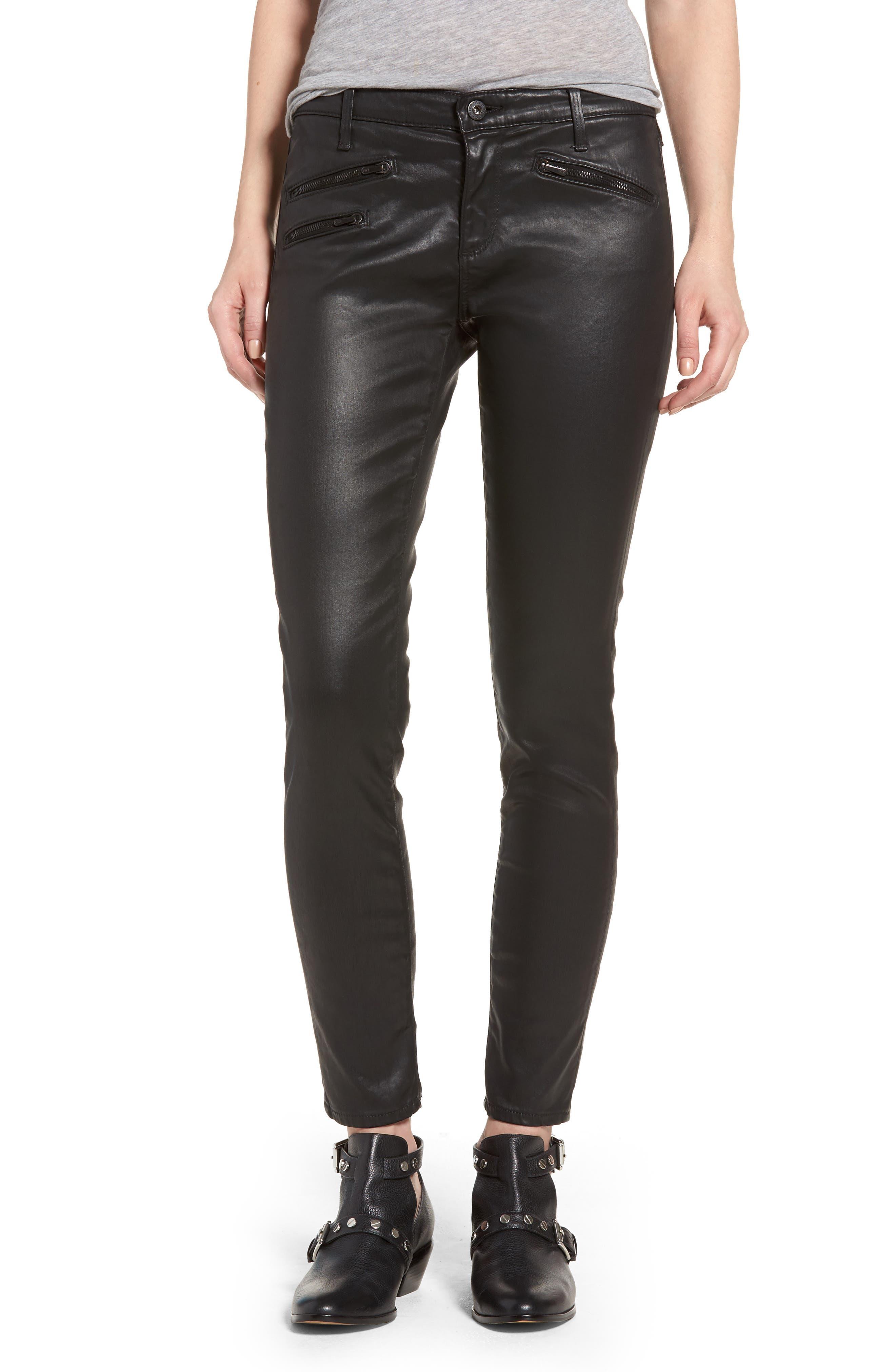 The Legging Moto Ankle Pants,                         Main,                         color, Leatherette Super Black