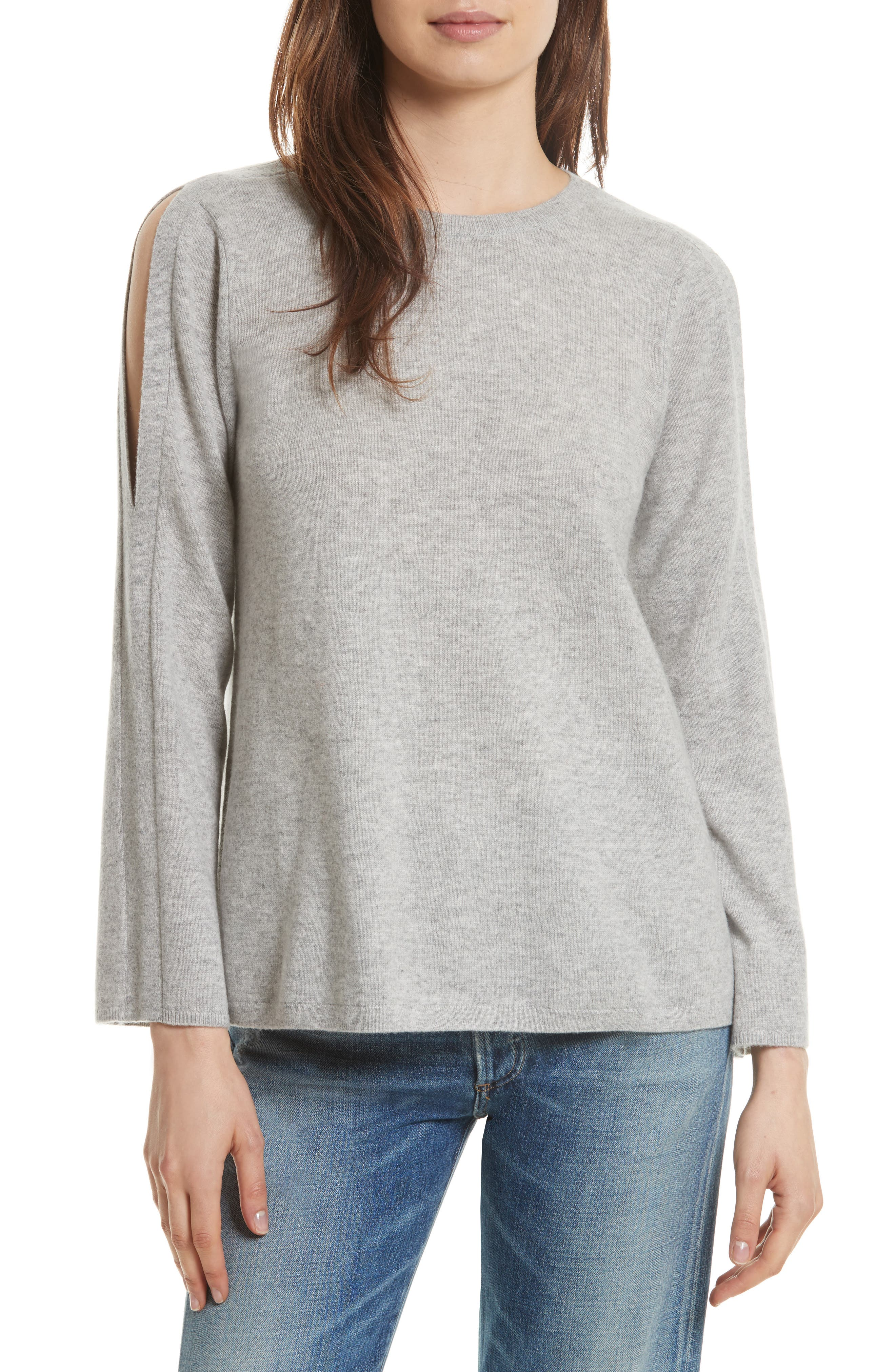 Amalyn Cold Shoulder Wool & Cashmere Sweater,                             Main thumbnail 1, color,                             Ash Heather Grey
