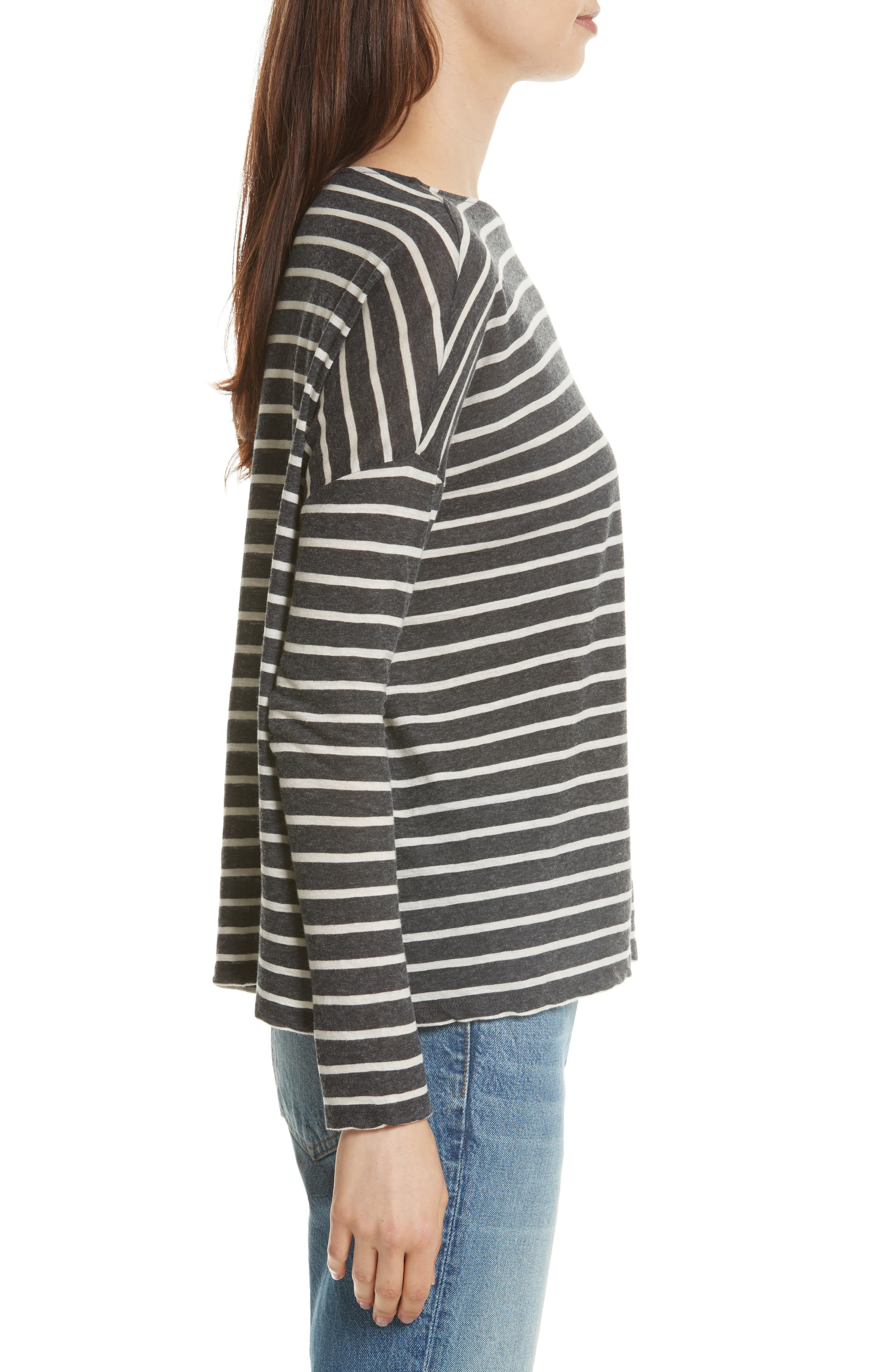 Stripe Cotton & Cashmere Boatneck Top,                             Alternate thumbnail 3, color,                             Anthracite/ Milk