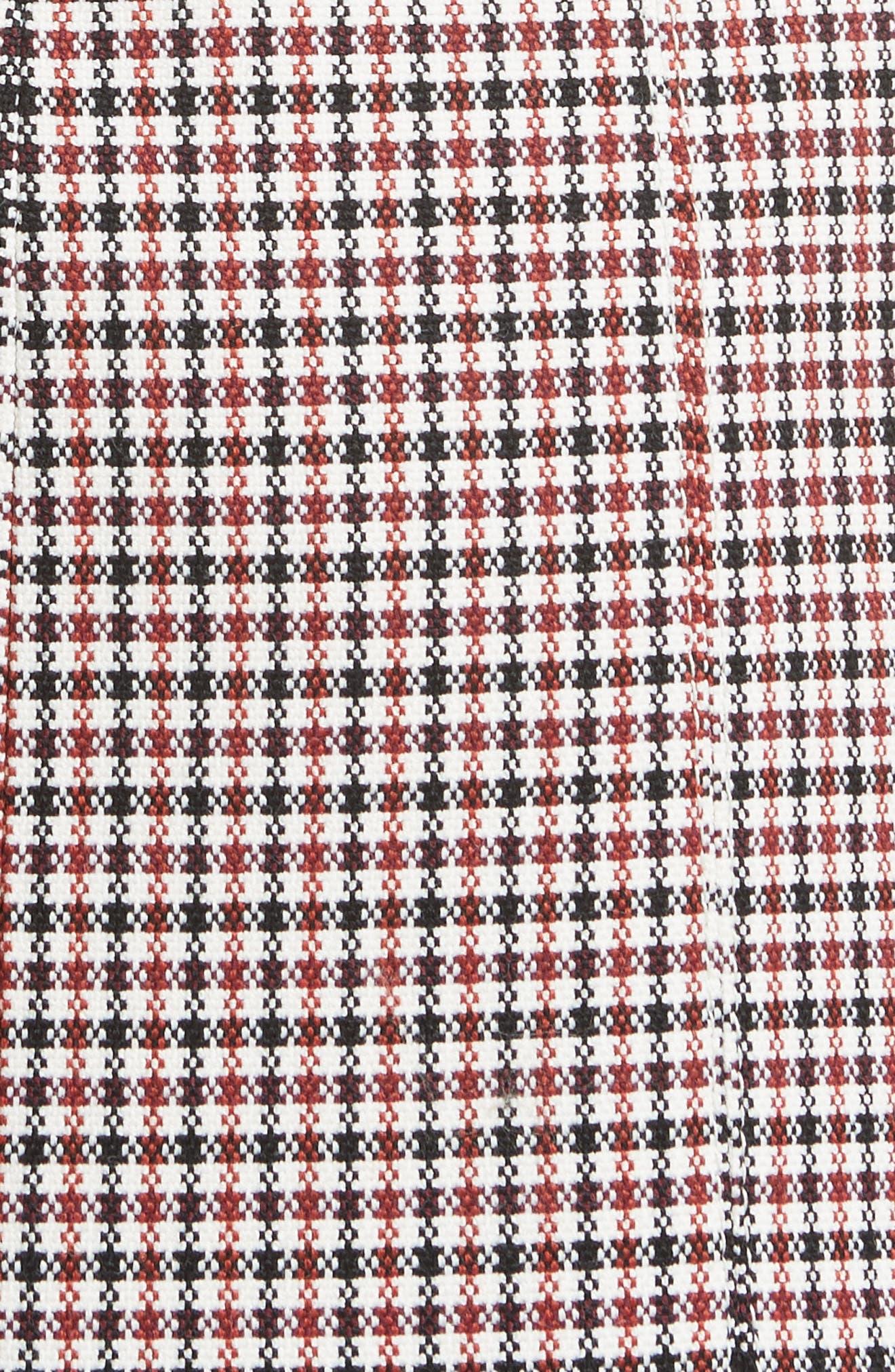 Bonded Velvet & Check Mixed Media Dress,                             Alternate thumbnail 6, color,                             Havana