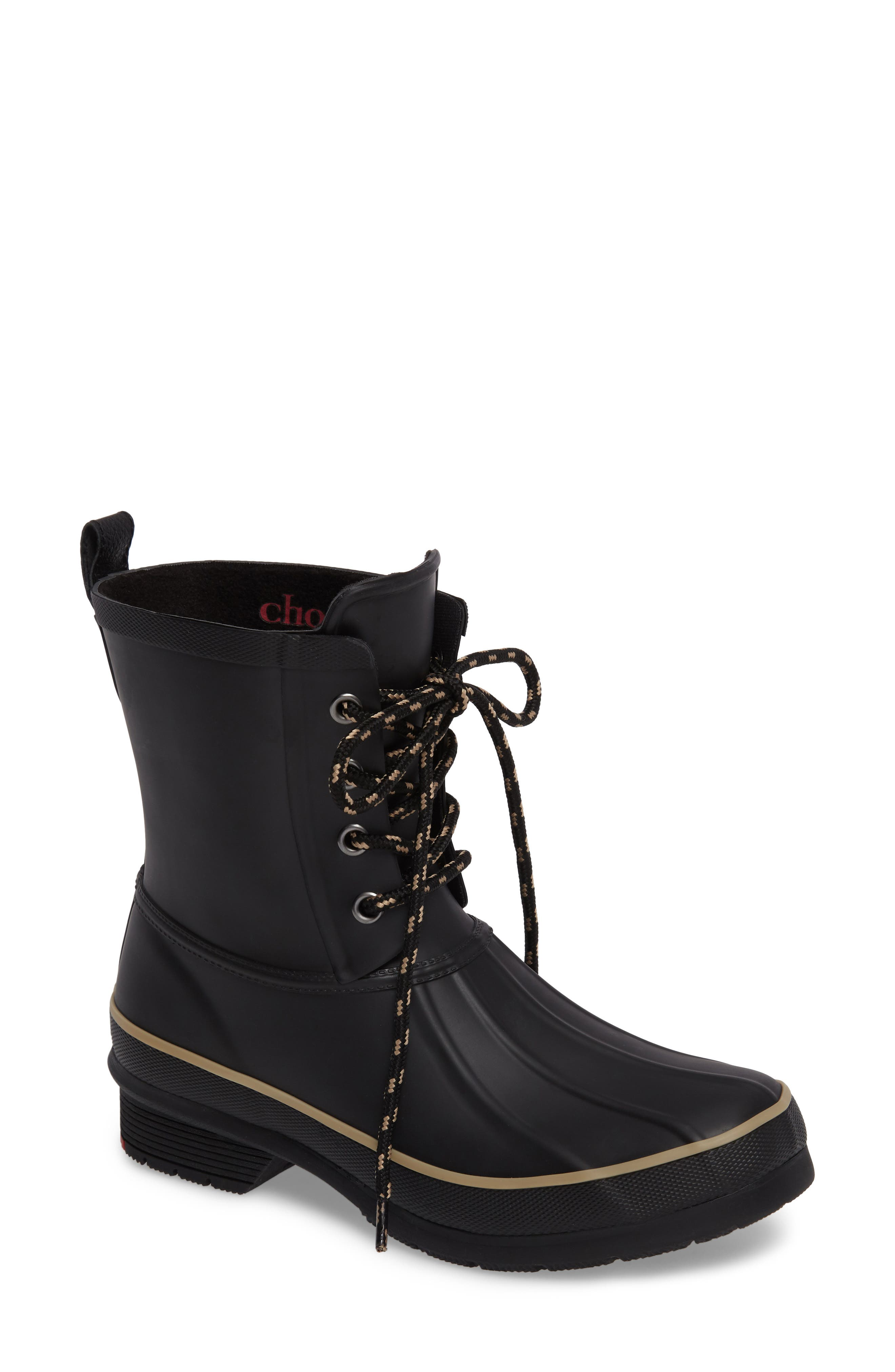 Classic Lace-Up Duck Boot,                             Main thumbnail 1, color,                             Black