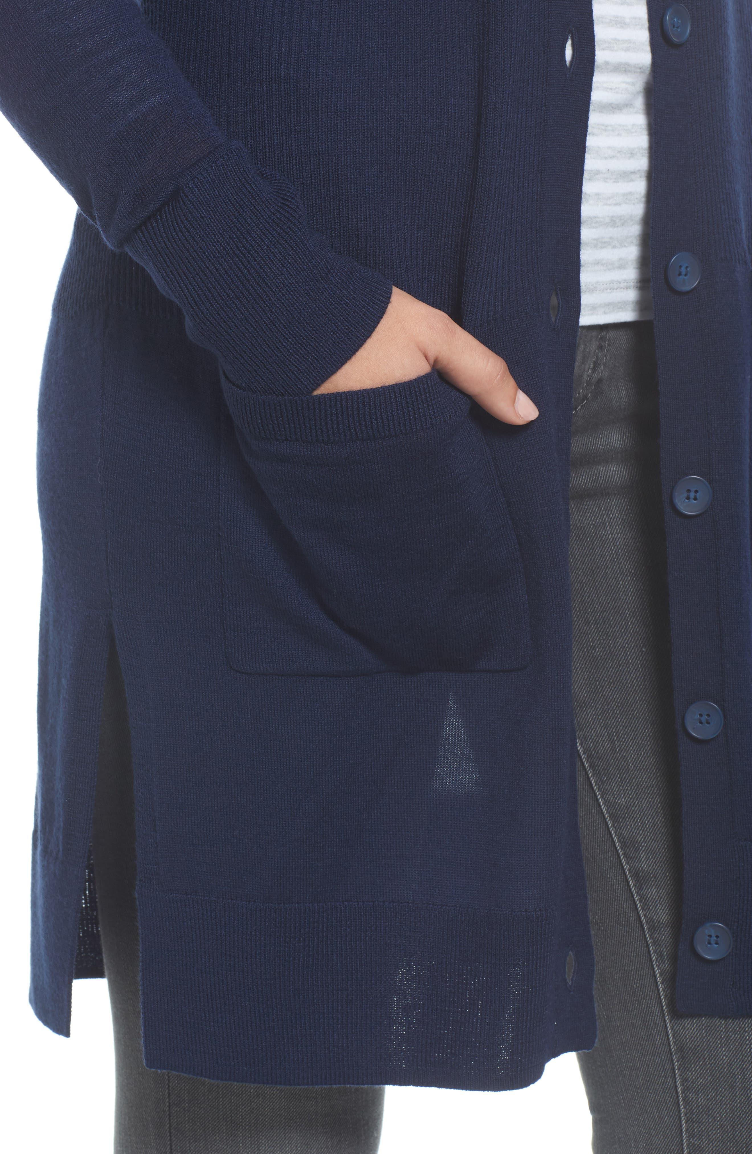 Alternate Image 4  - Halogen® Rib Knit Wool Blend Cardigan (Regular & Petite)
