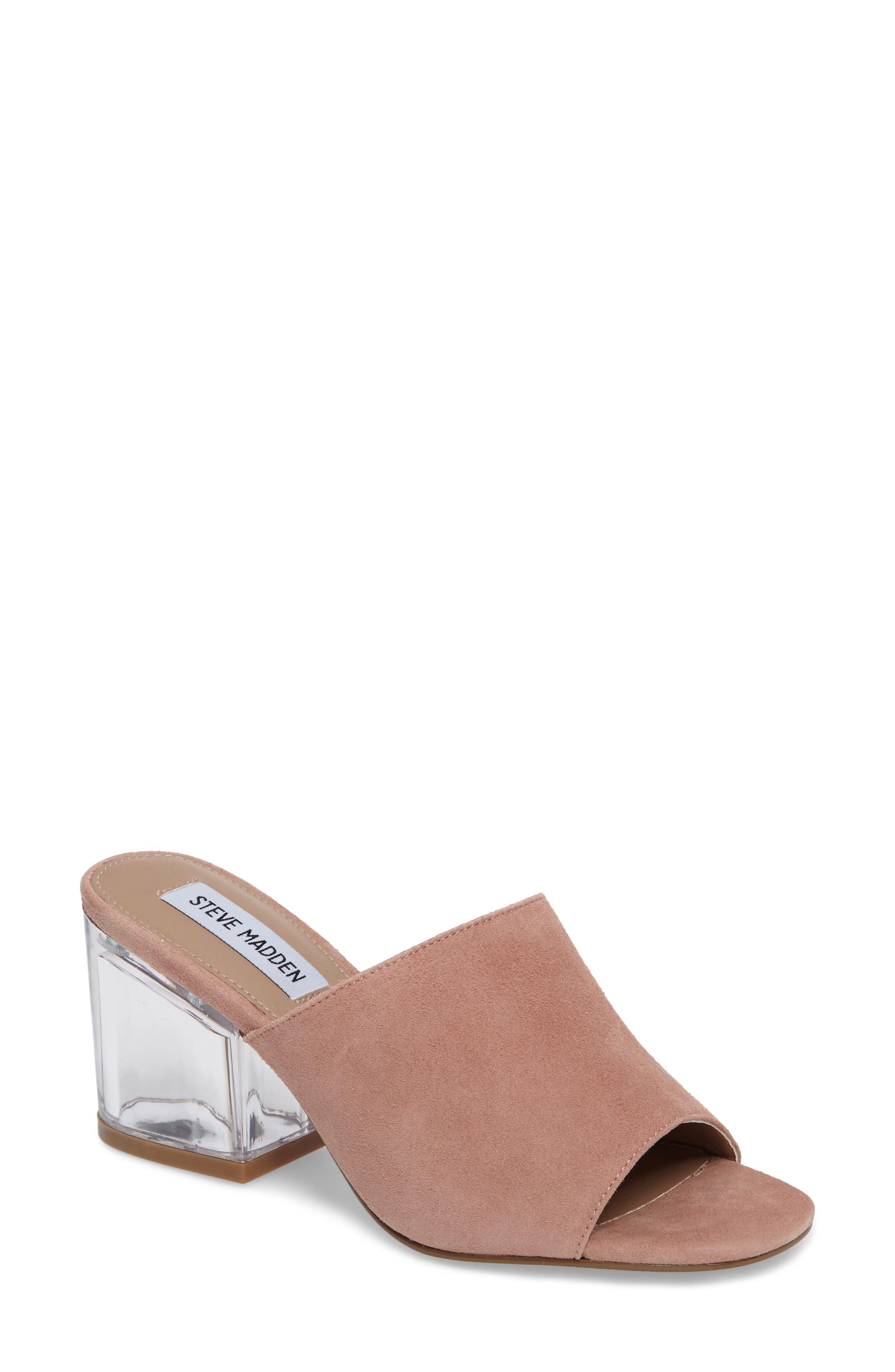 Dalis Clear Heel Slide Sandal,                         Main,                         color, Rose Suede