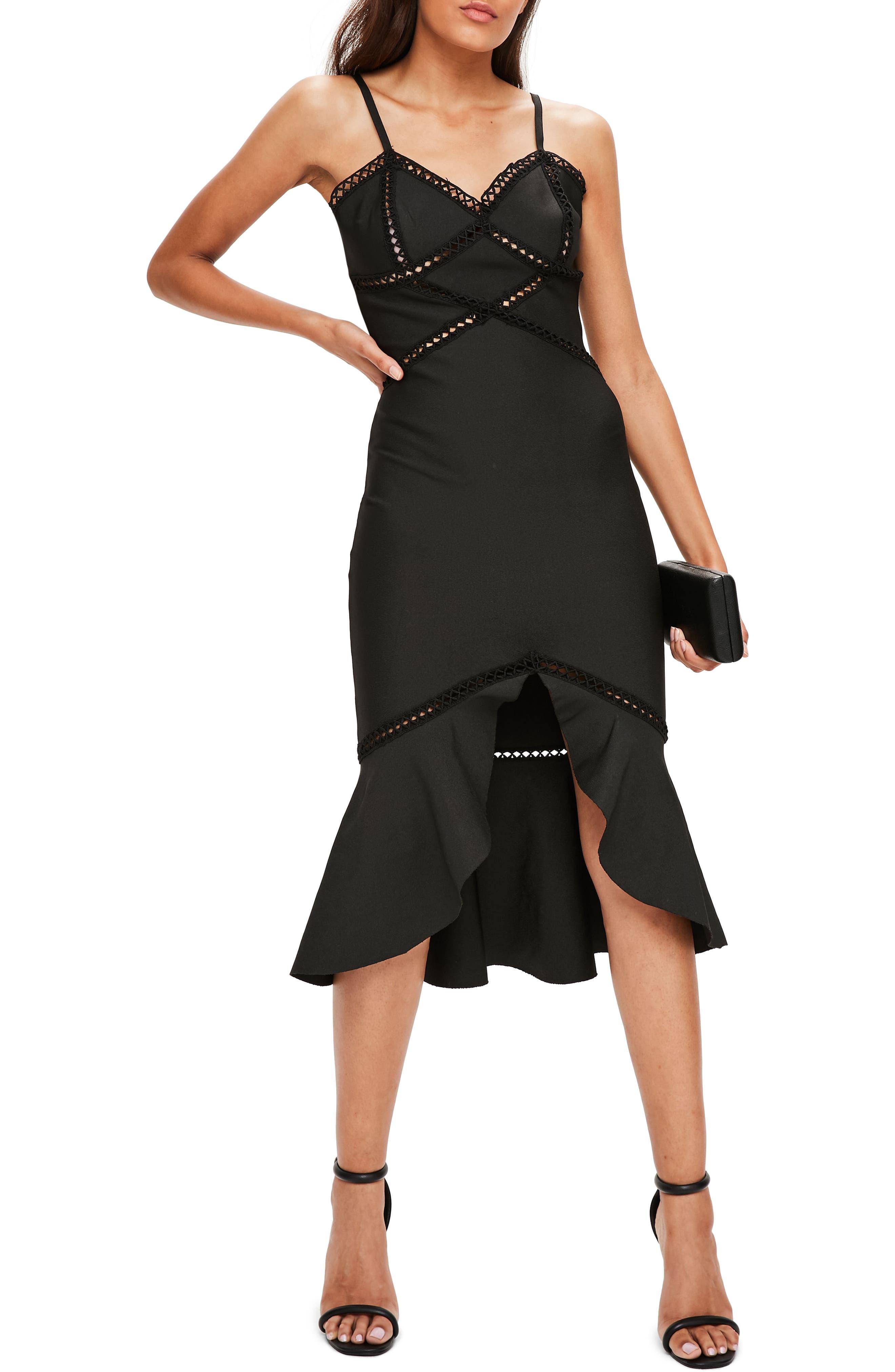Midi Body-Con Dress,                         Main,                         color, Black