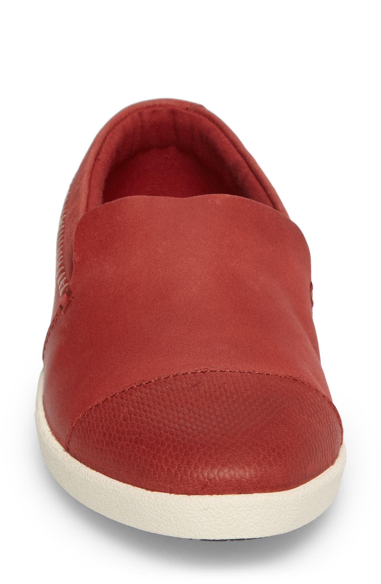 Alohi Embossed Cap Toe Slip-On,                             Alternate thumbnail 4, color,                             Red Mud/ Red Mud Leather