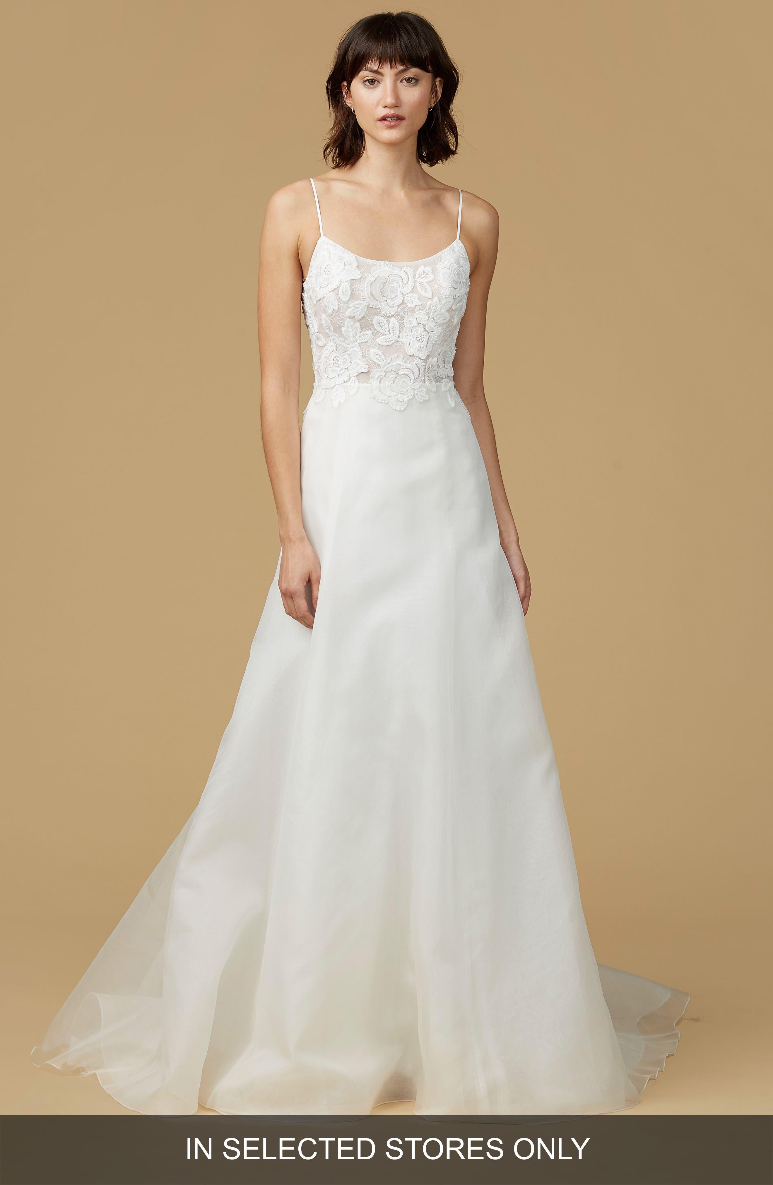 Viv Lace Appliqué Silk Organza A-Line Gown,                         Main,                         color, Ivory