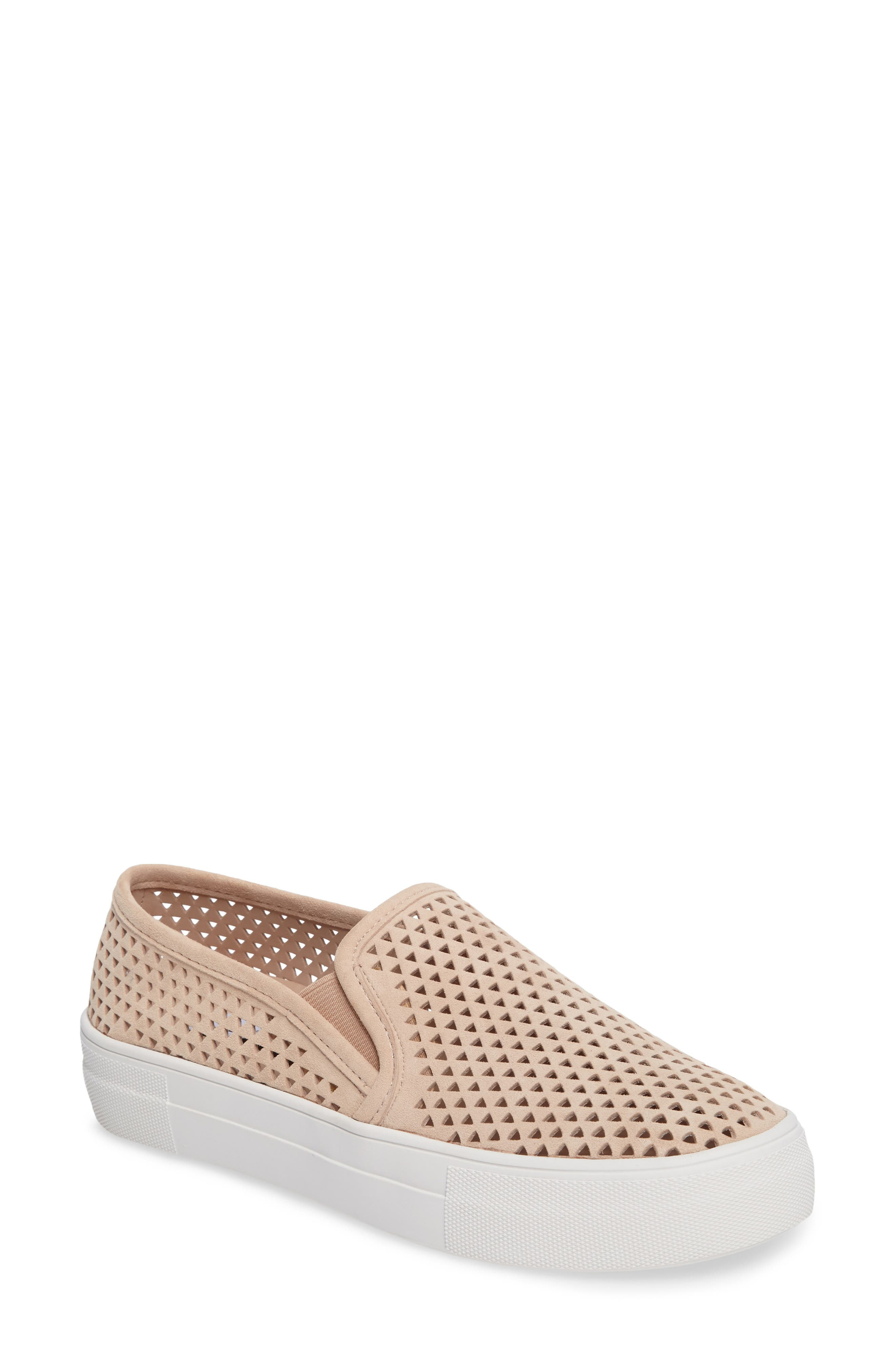 Gills Perforated Slip-On Sneaker,                             Main thumbnail 1, color,                             Natural Suede