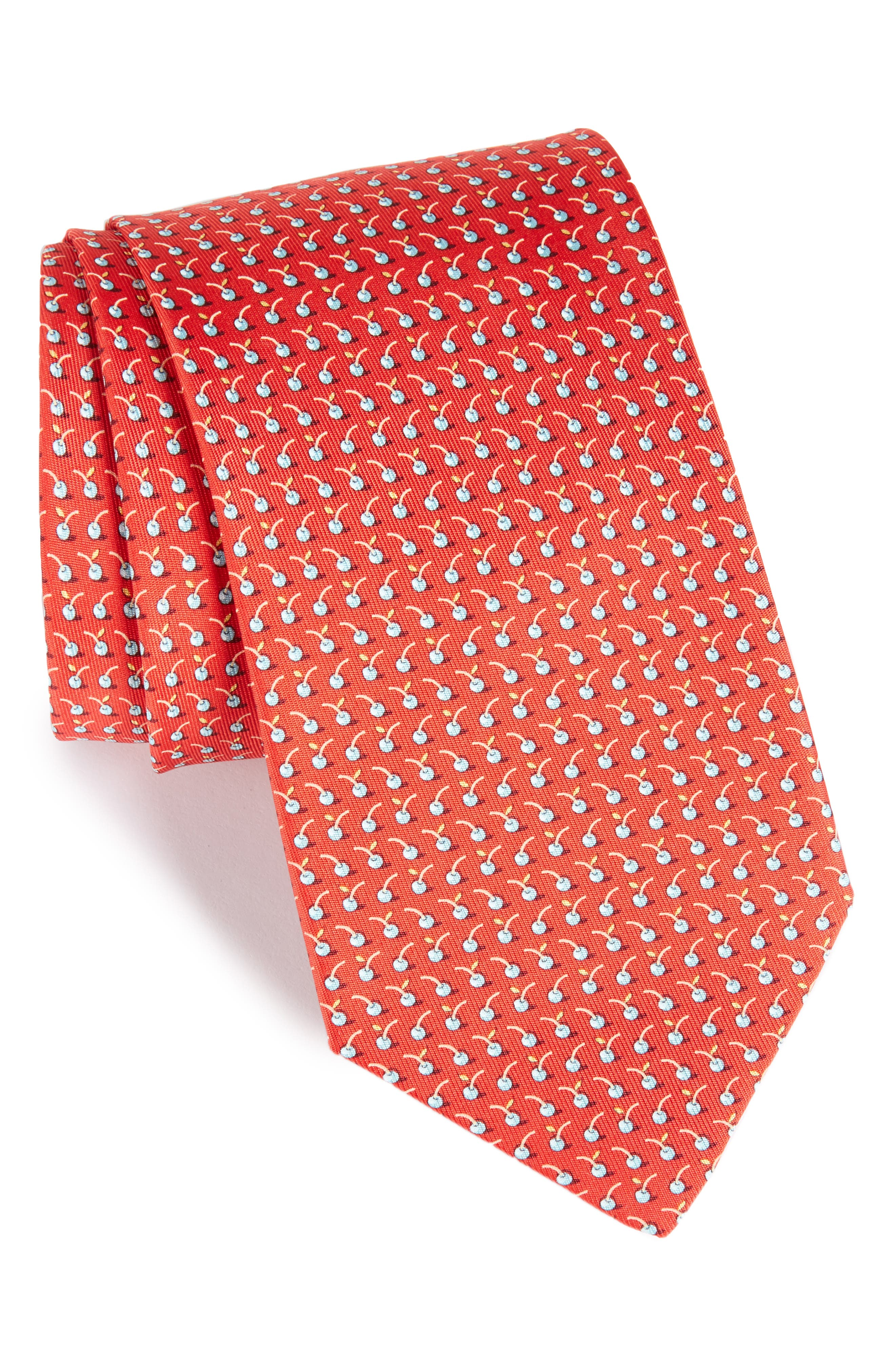 Fruit Silk Tie,                             Main thumbnail 1, color,                             Red