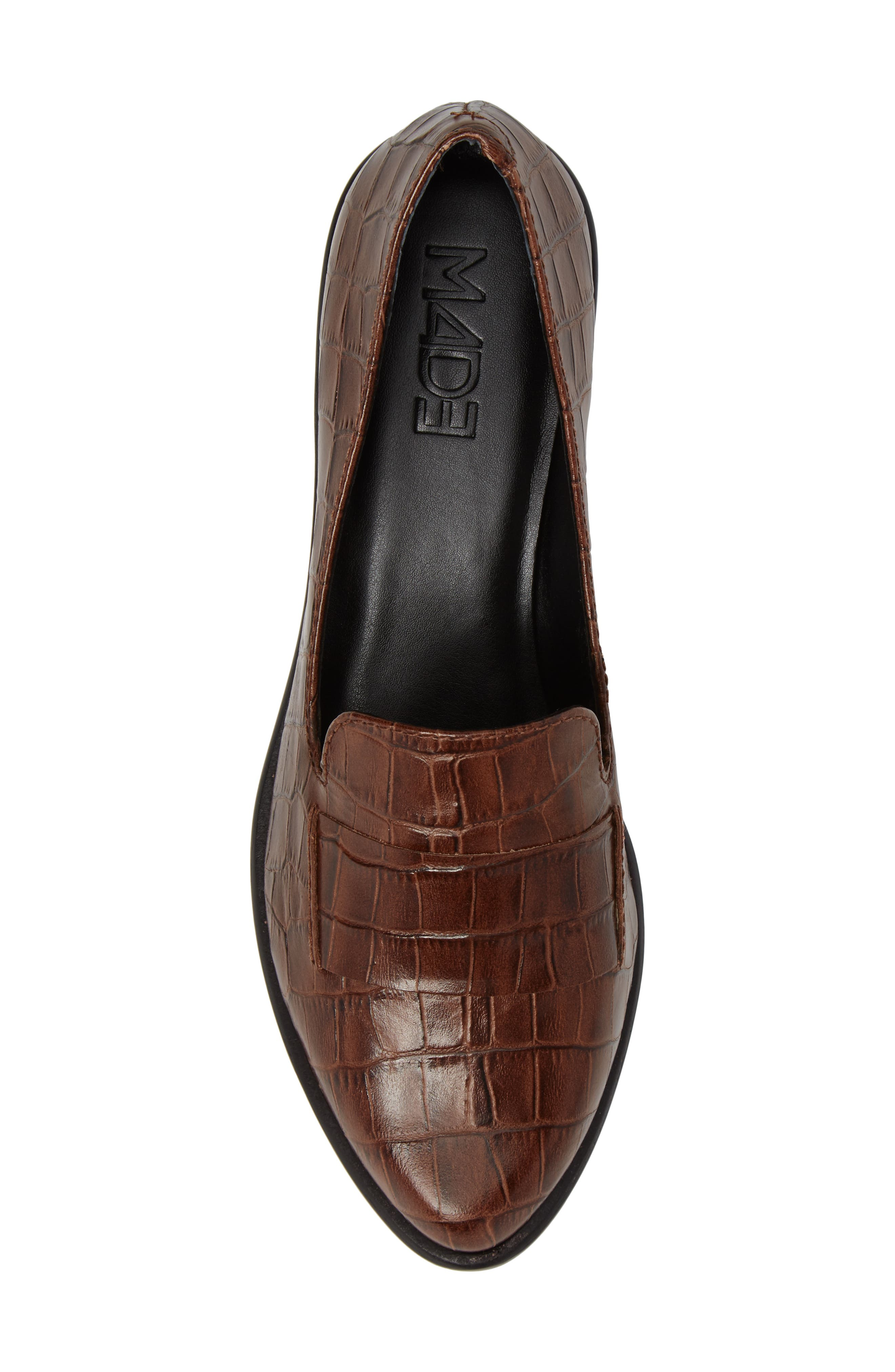 M4D3 'Ocean' Flat Loafer,                             Alternate thumbnail 4, color,                             Whiskey Croc Leather