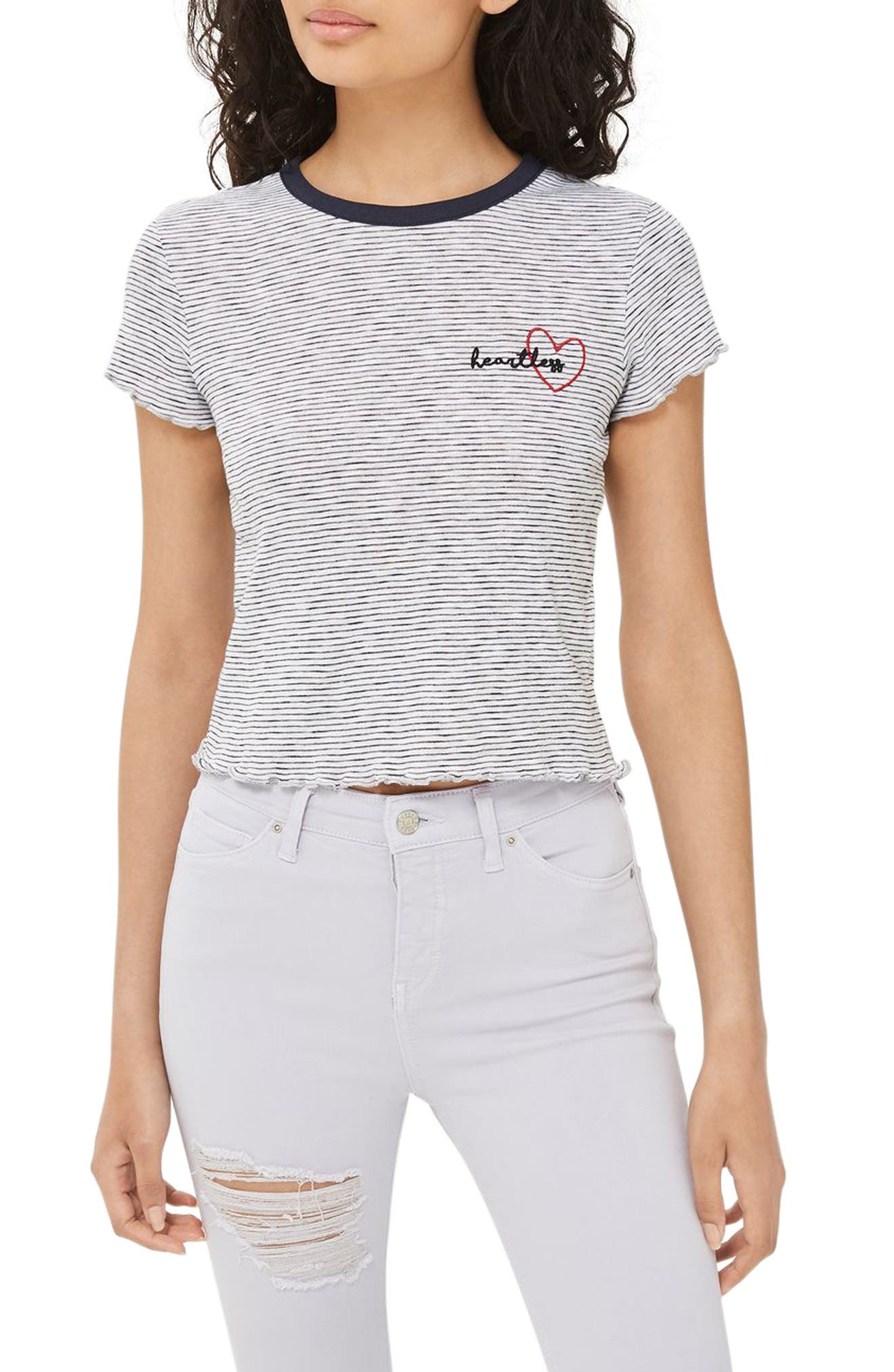 Topshop Heartless Motif Stripe Tee (Petite)