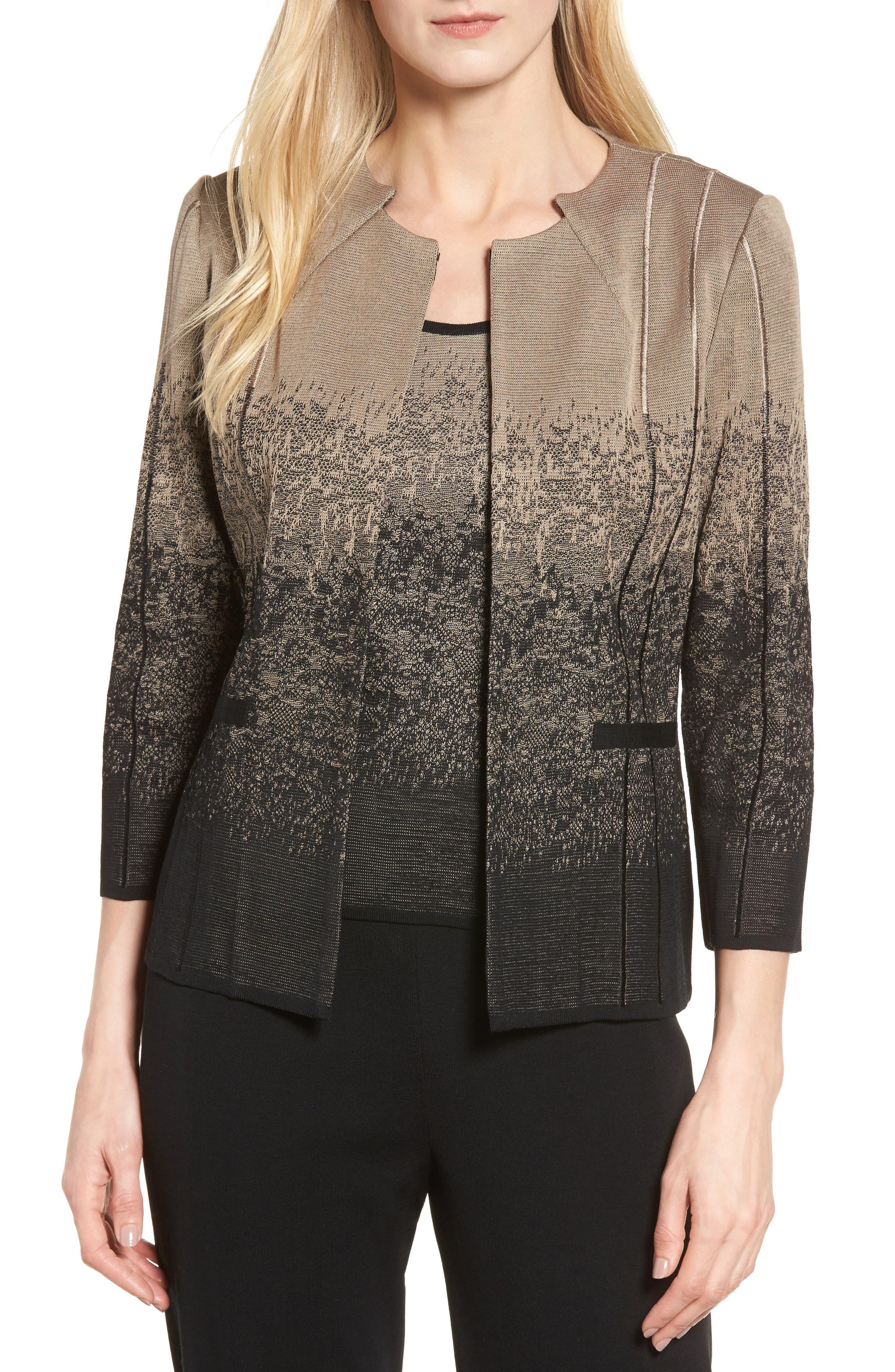 Jacquard Knit Jacket,                         Main,                         color, Ash/ Black