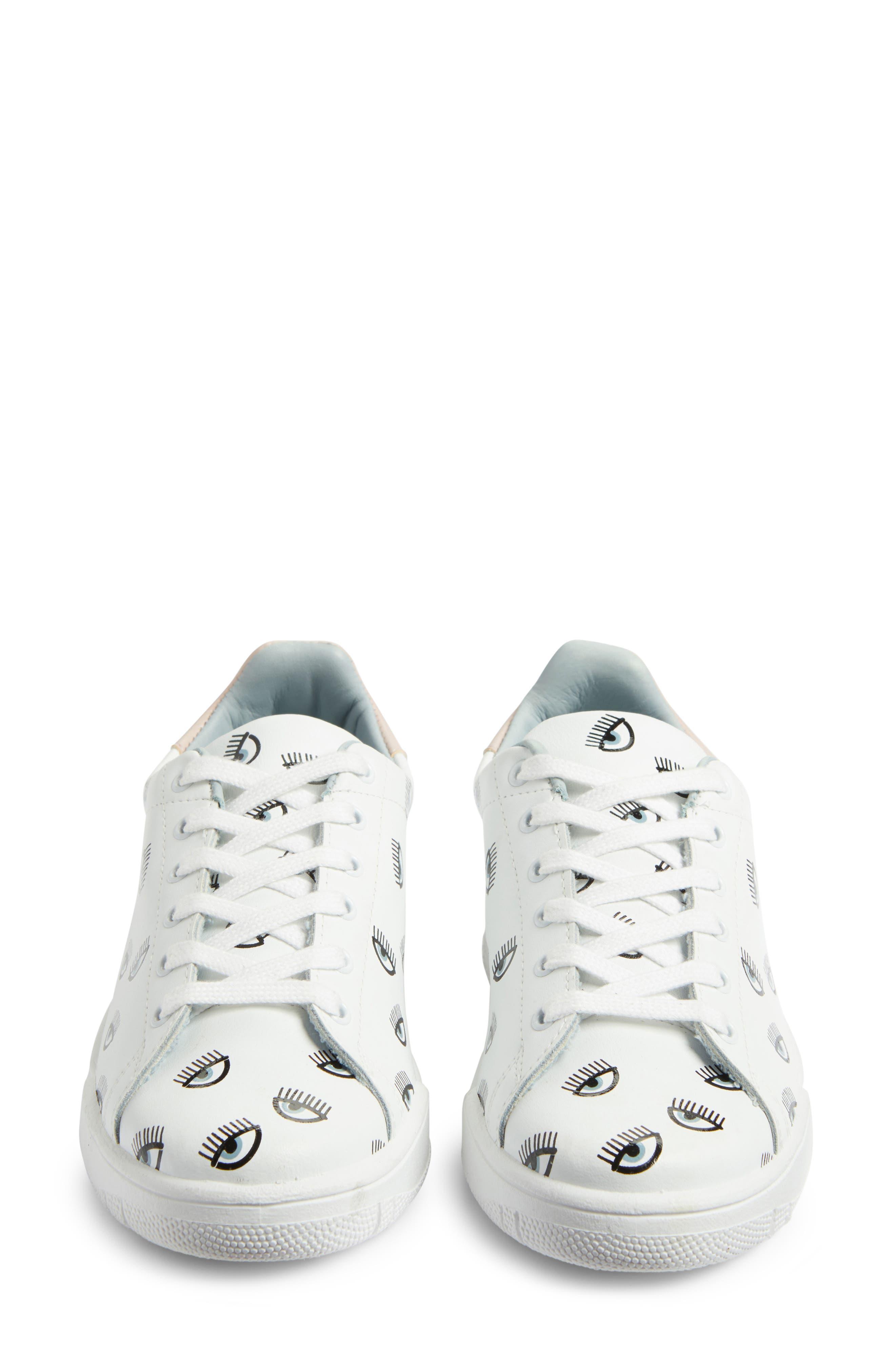 Logo Roger Eyelash Sneaker,                             Alternate thumbnail 5, color,                             White