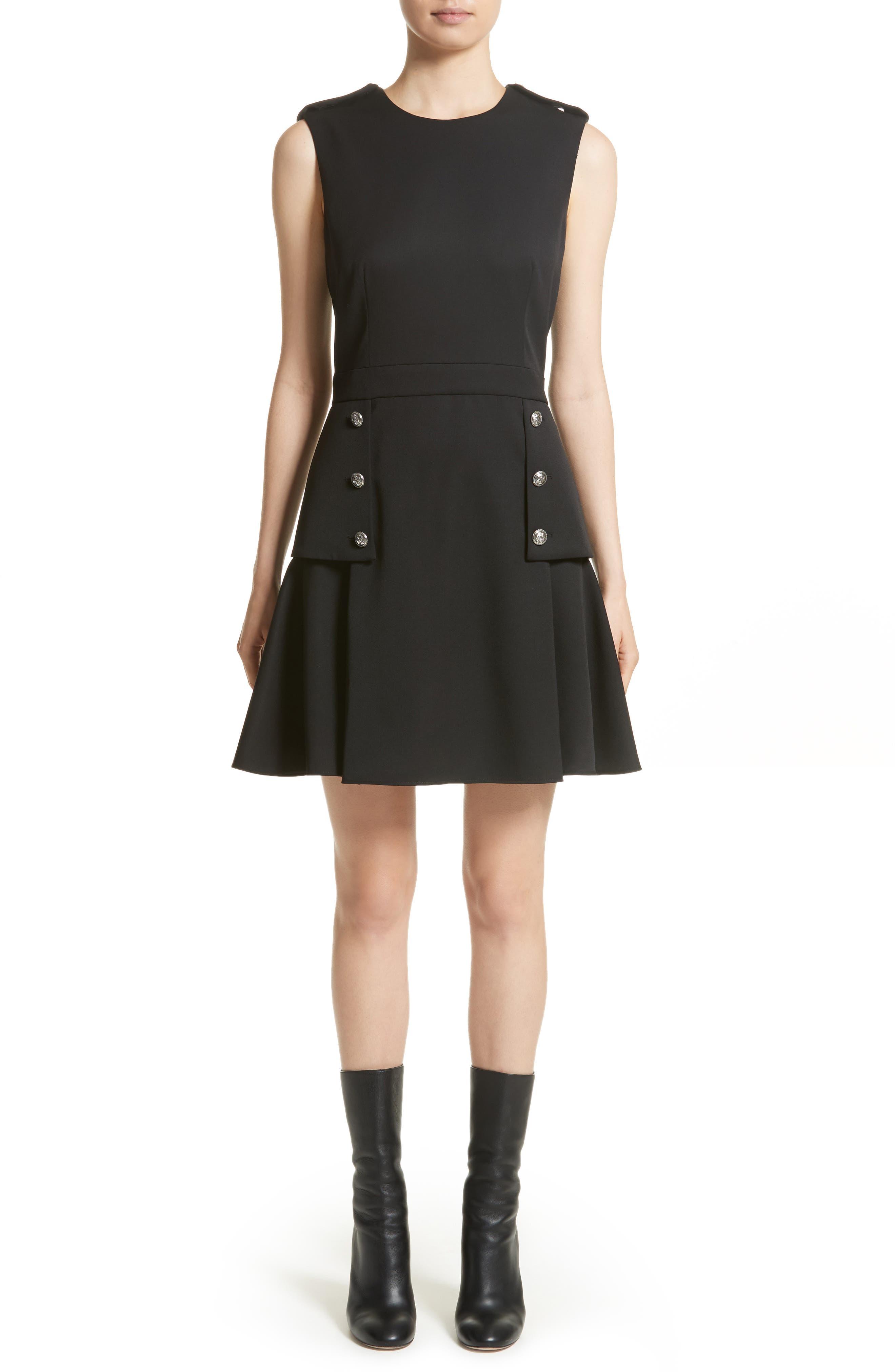 Military Peplum Dress,                         Main,                         color, Black