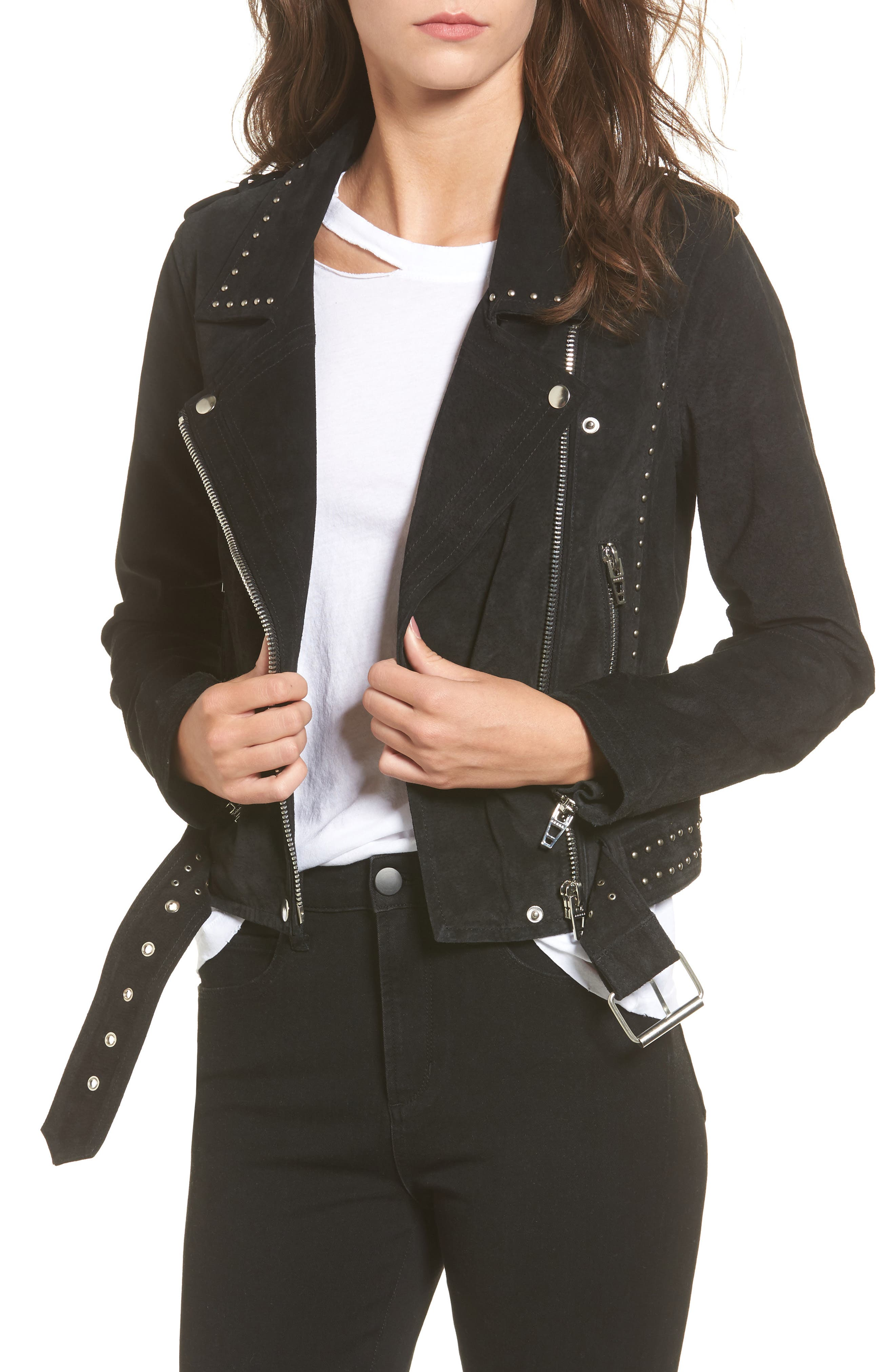 BLANKNYC Studded Suede Moto Jacket
