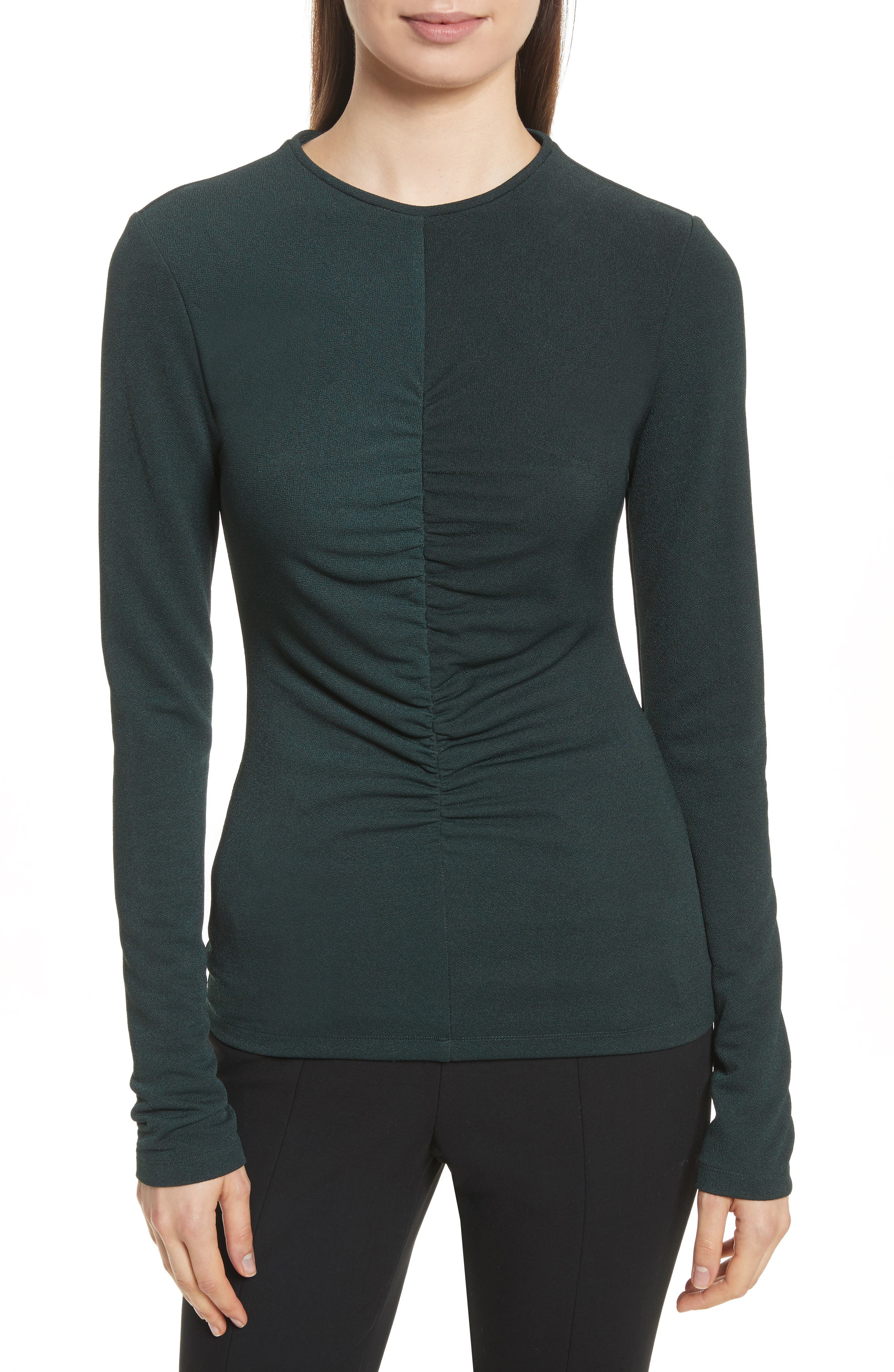 Ruched Crepe Knit Tee,                             Main thumbnail 1, color,                             Spruce