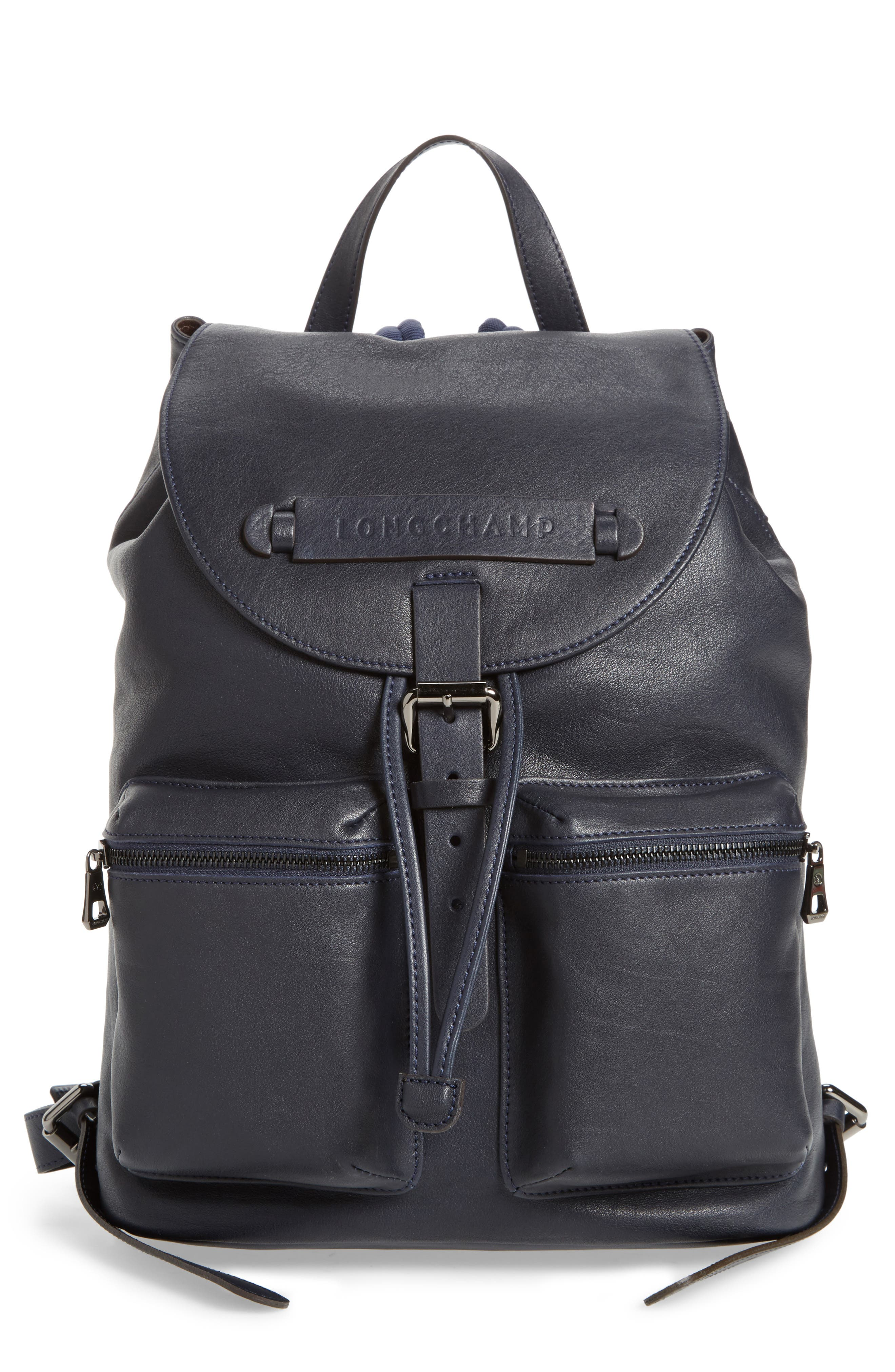 3D Leather Backpack,                         Main,                         color, Midnight Blue
