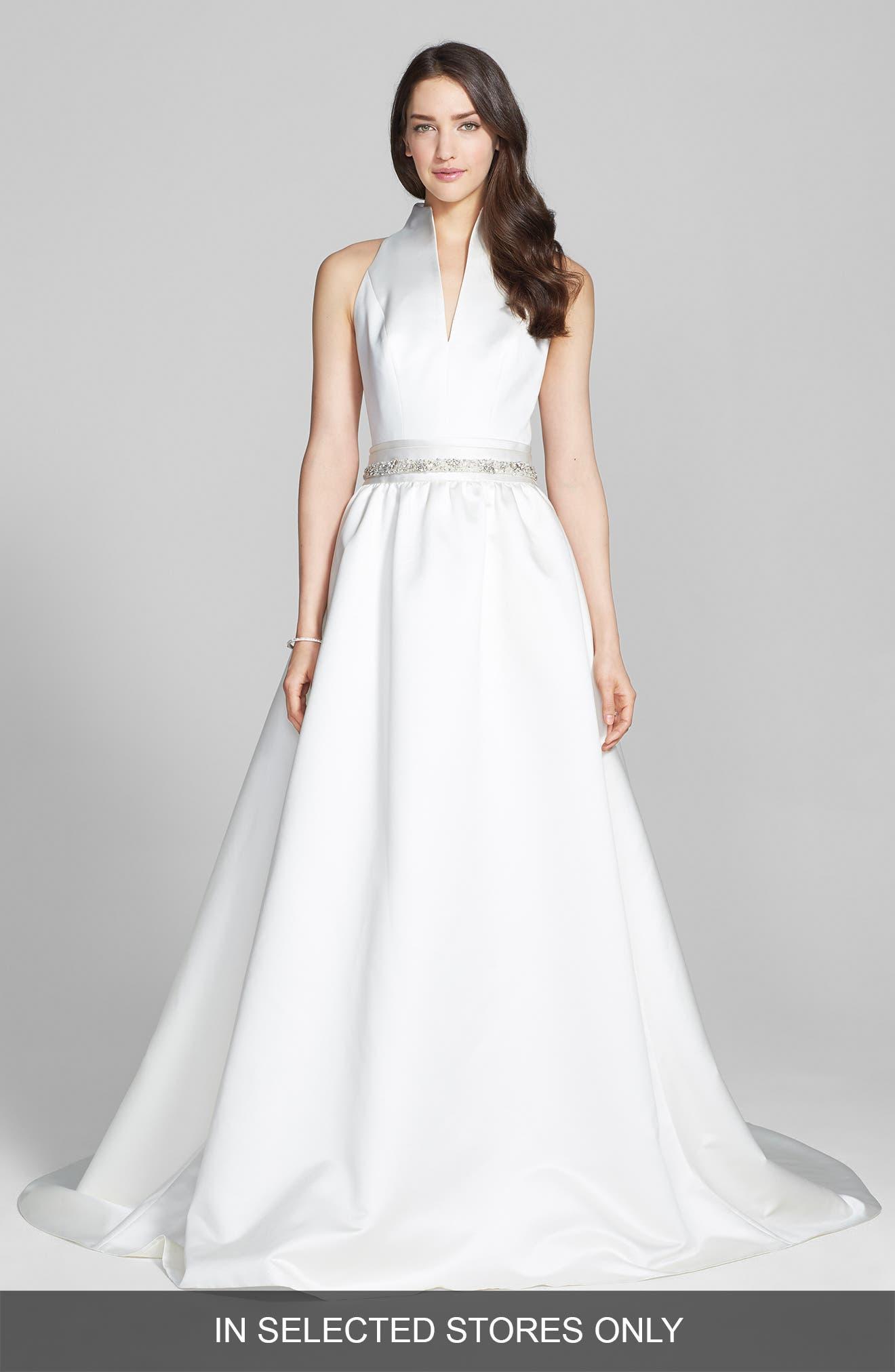 Alternate Image 1 Selected - Jesús Peiró Satin Dress with Embellished Waist Overskirt