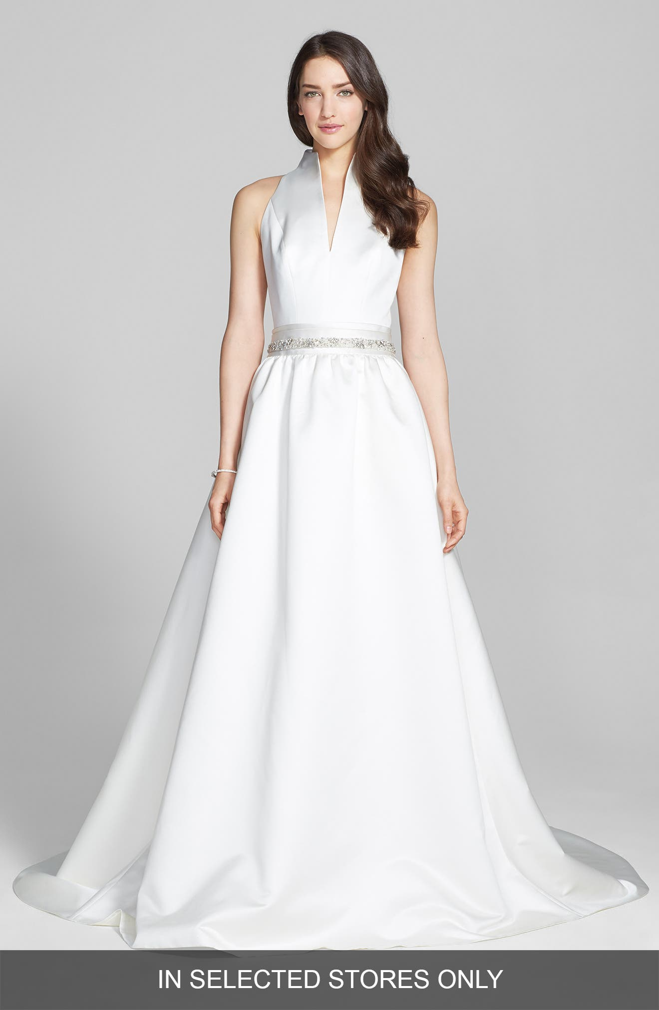 Main Image - Jesús Peiró Satin Dress with Embellished Waist Overskirt (In Stores Only)