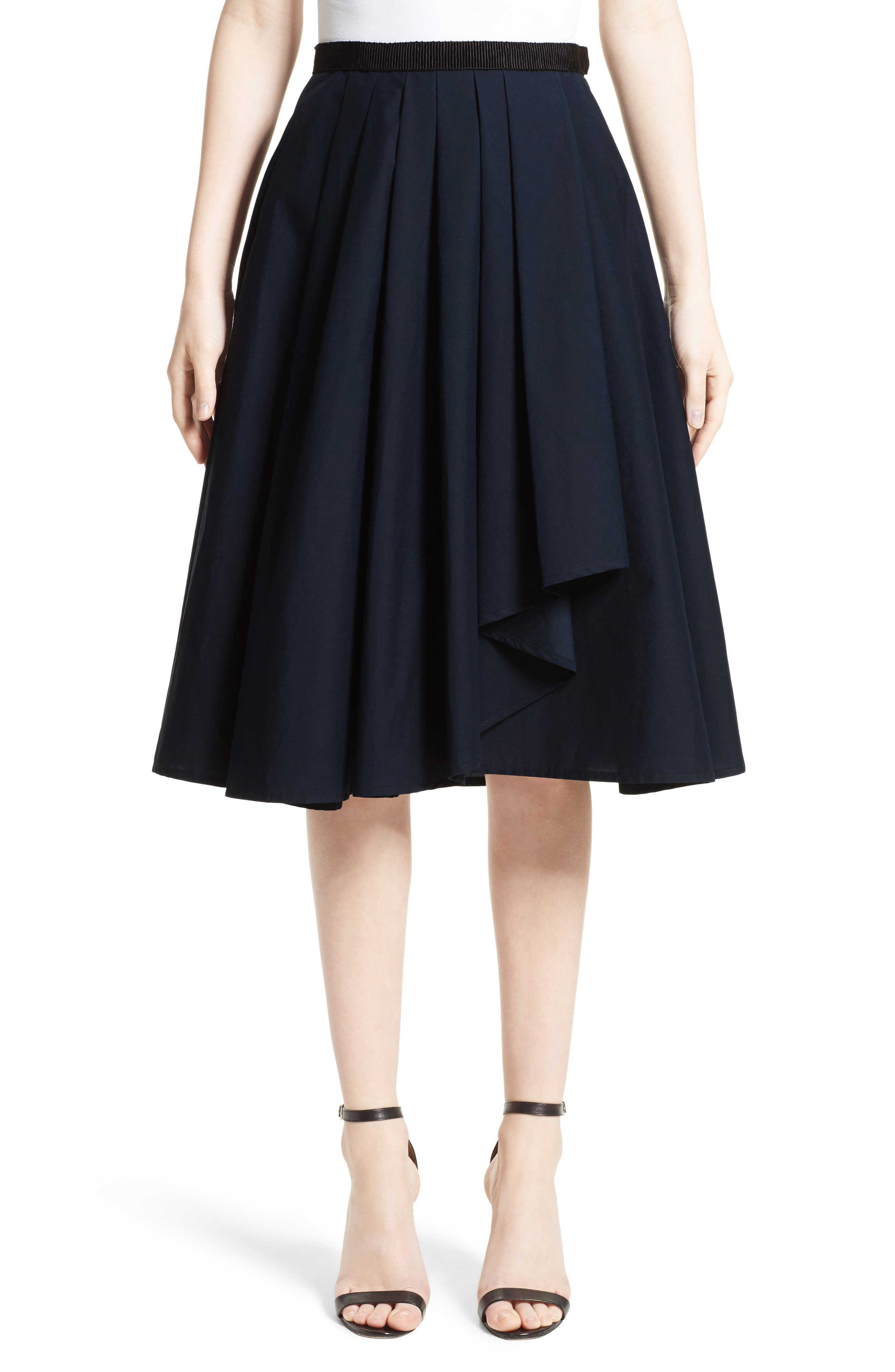 Ruffle Cotton A-Line Skirt,                         Main,                         color, Navy