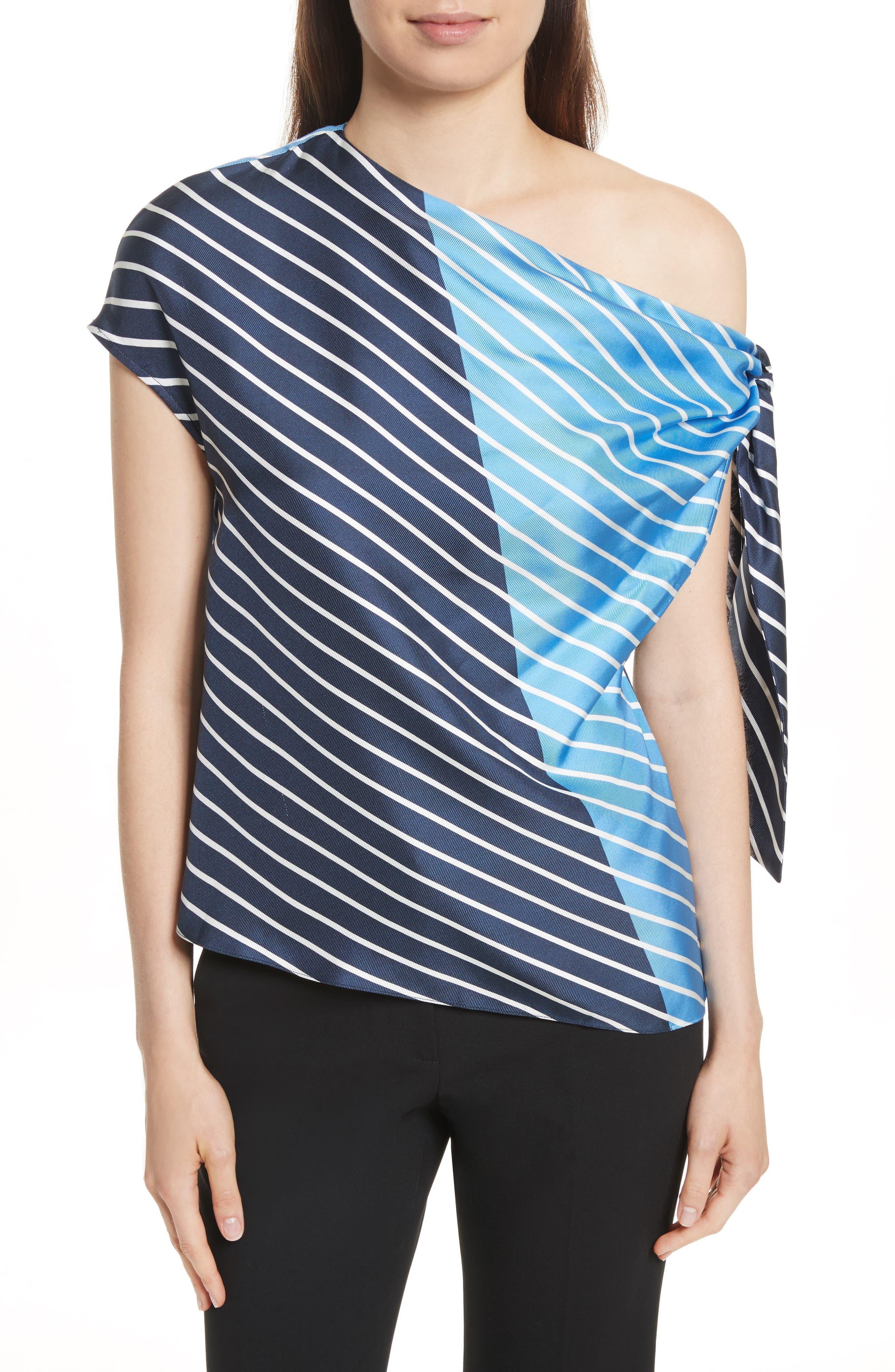 Tibi Delphina Colorblock Stripe Asymmetrical Silk Top