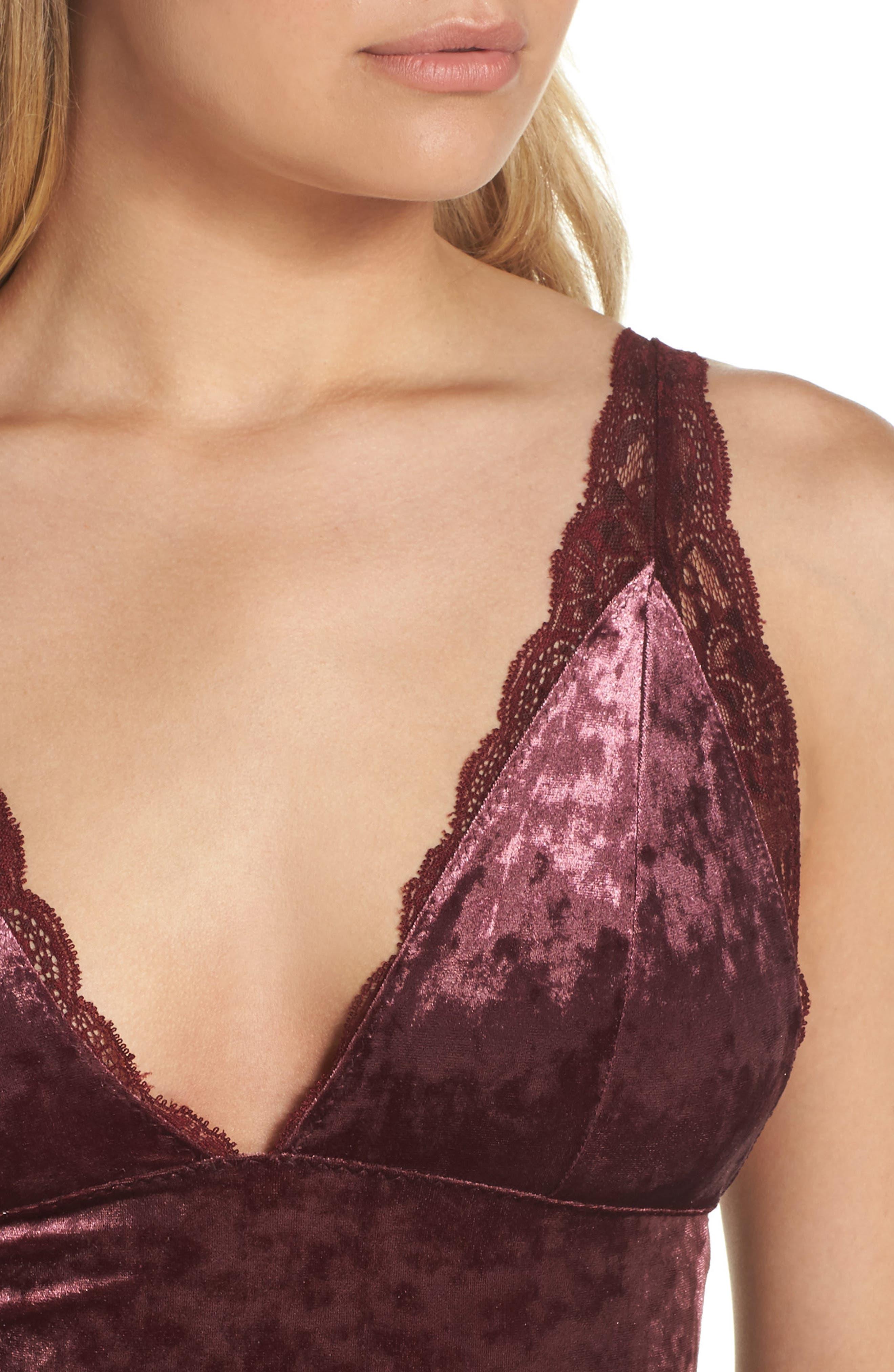 Intimately FP Viper Velvet Chemise,                             Alternate thumbnail 5, color,                             Raspberry