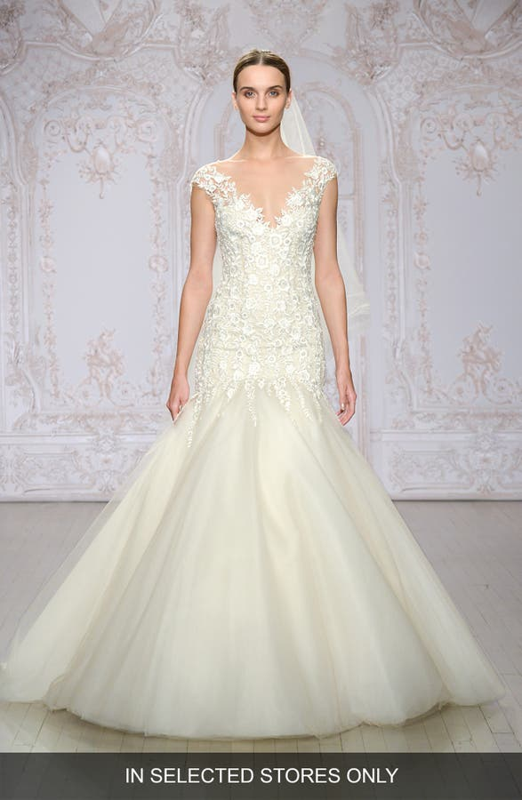 Main Image Monique Lhuillier Roslyn Embroidered Illusion Tulle Trumpet Gown