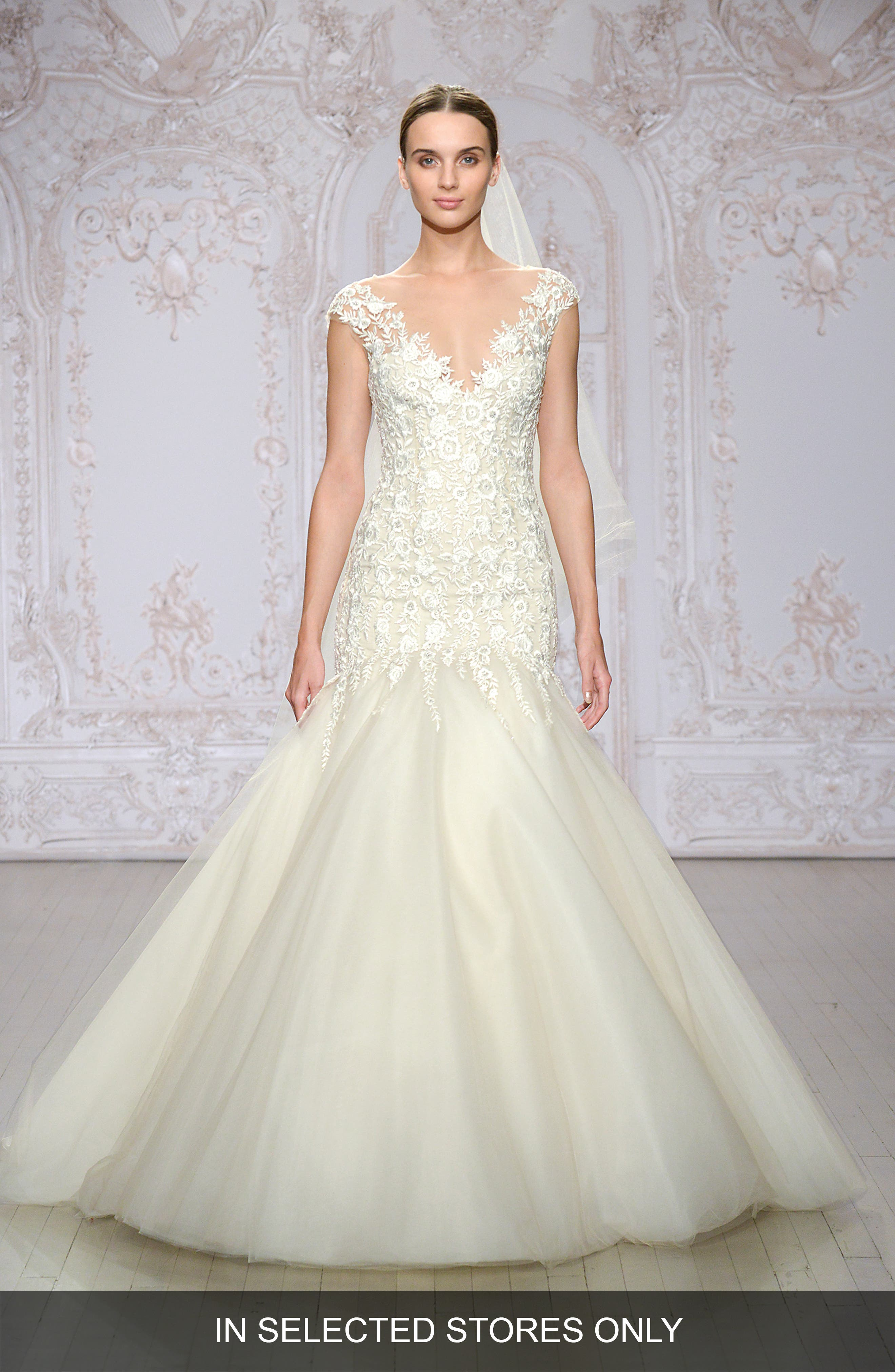 Monique Lhuillier Roslyn Embroidered Illusion Tulle Trumpet Gown