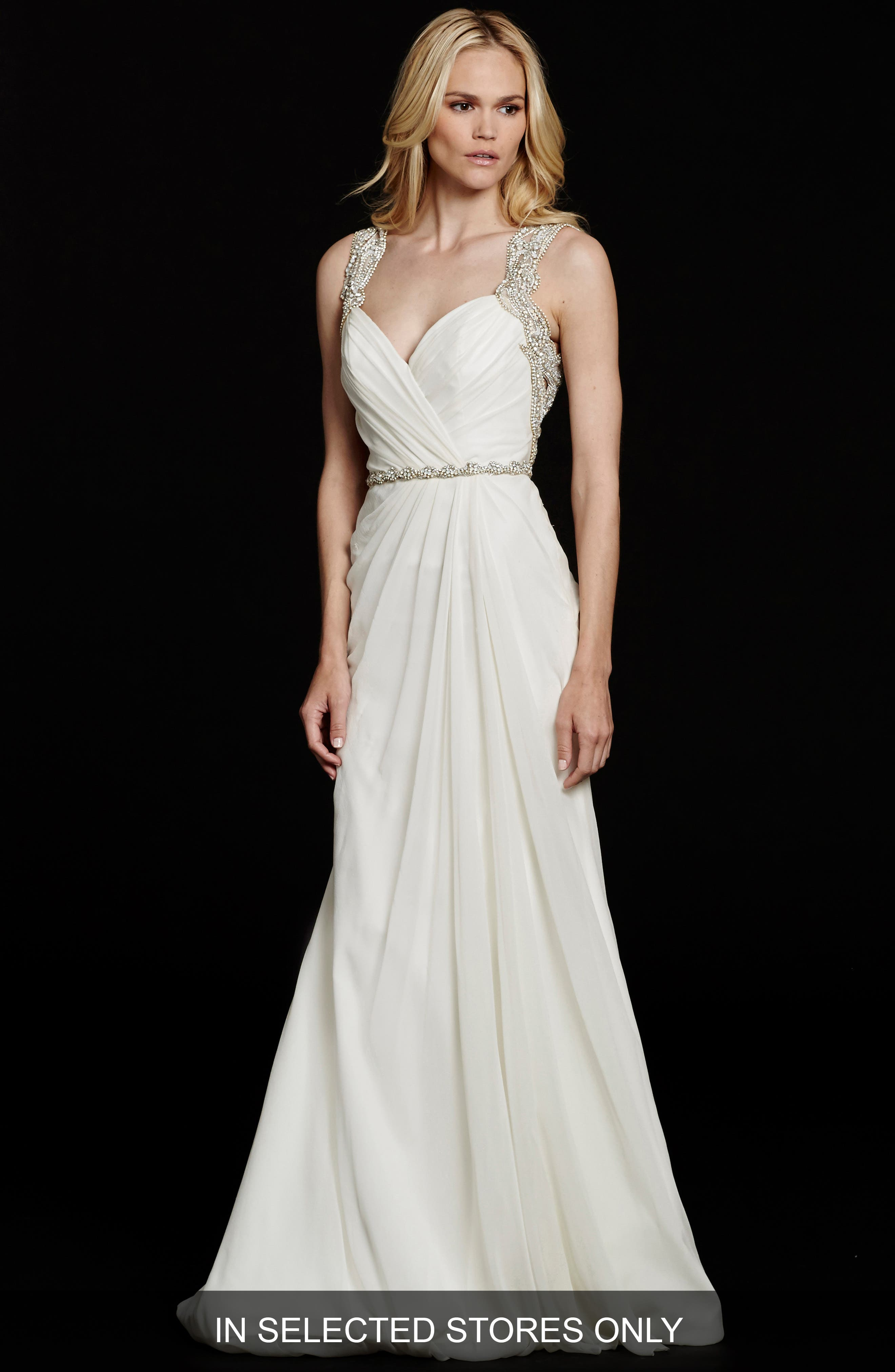 Main Image - Hayley Paige 'Portia' Embellished Open Back Chiffon Gown (In Stores Only)