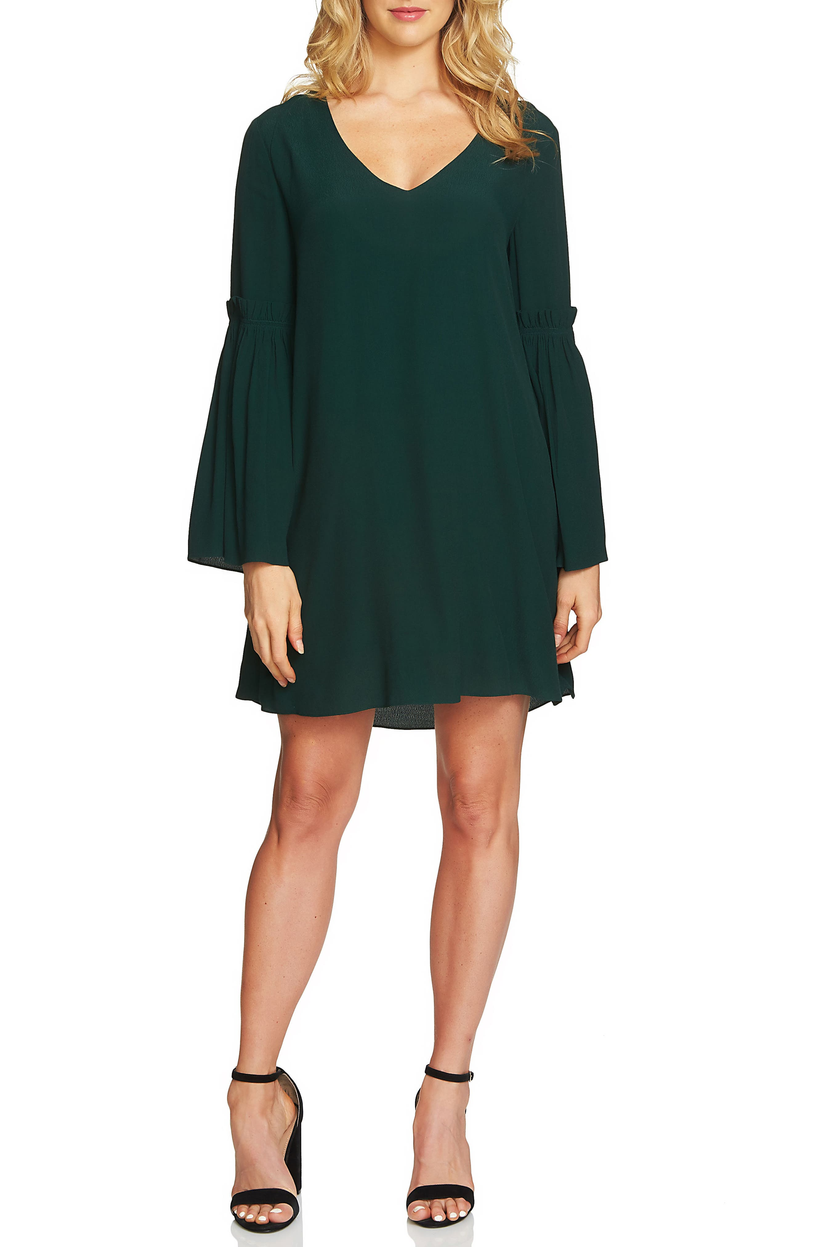 Bell Sleeve Swing Dress,                             Main thumbnail 1, color,                             Jasper Green