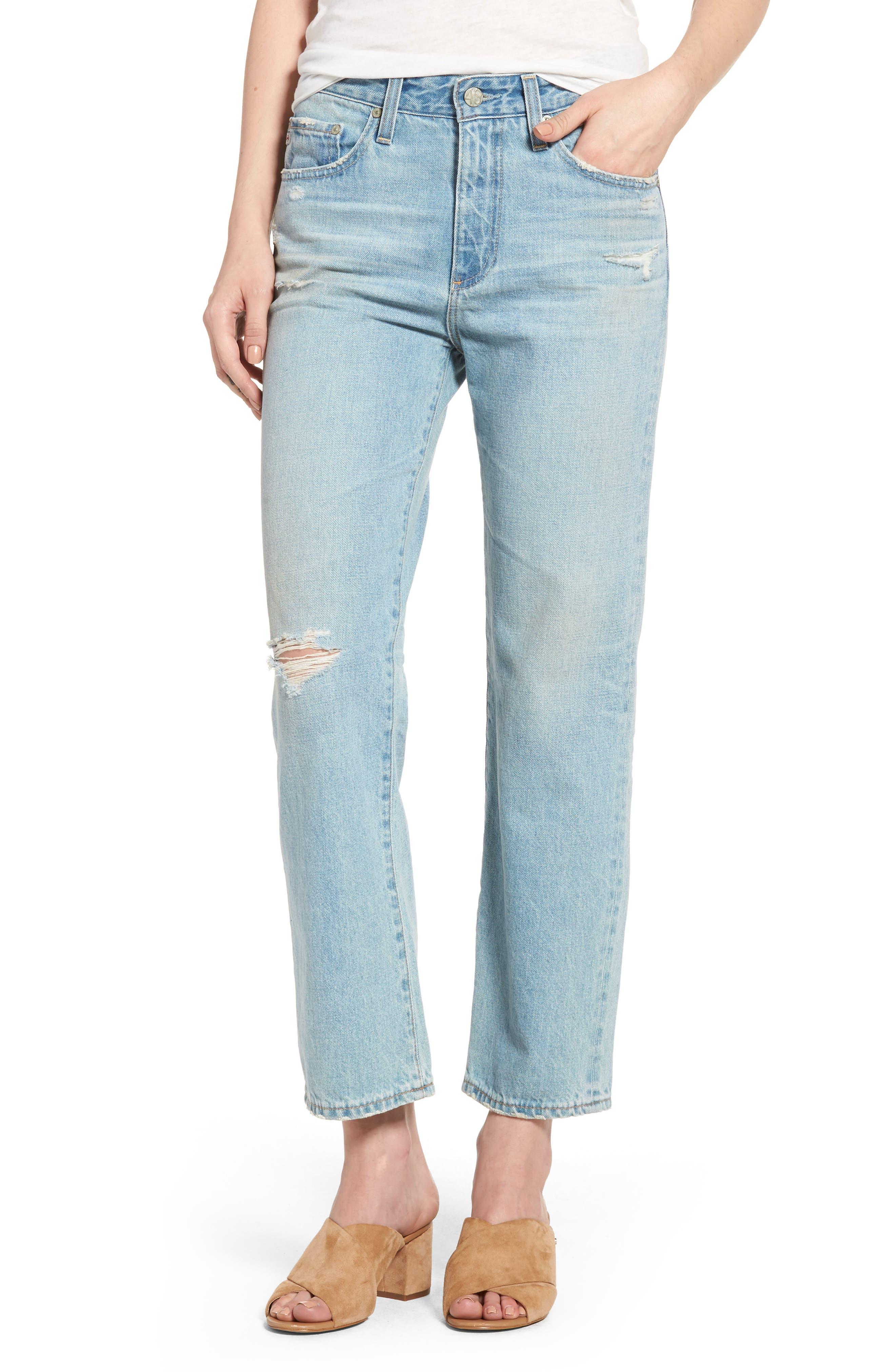 The Rhett Vintage High Waist Crop Jeans,                             Main thumbnail 1, color,                             21 Years Cades Blue