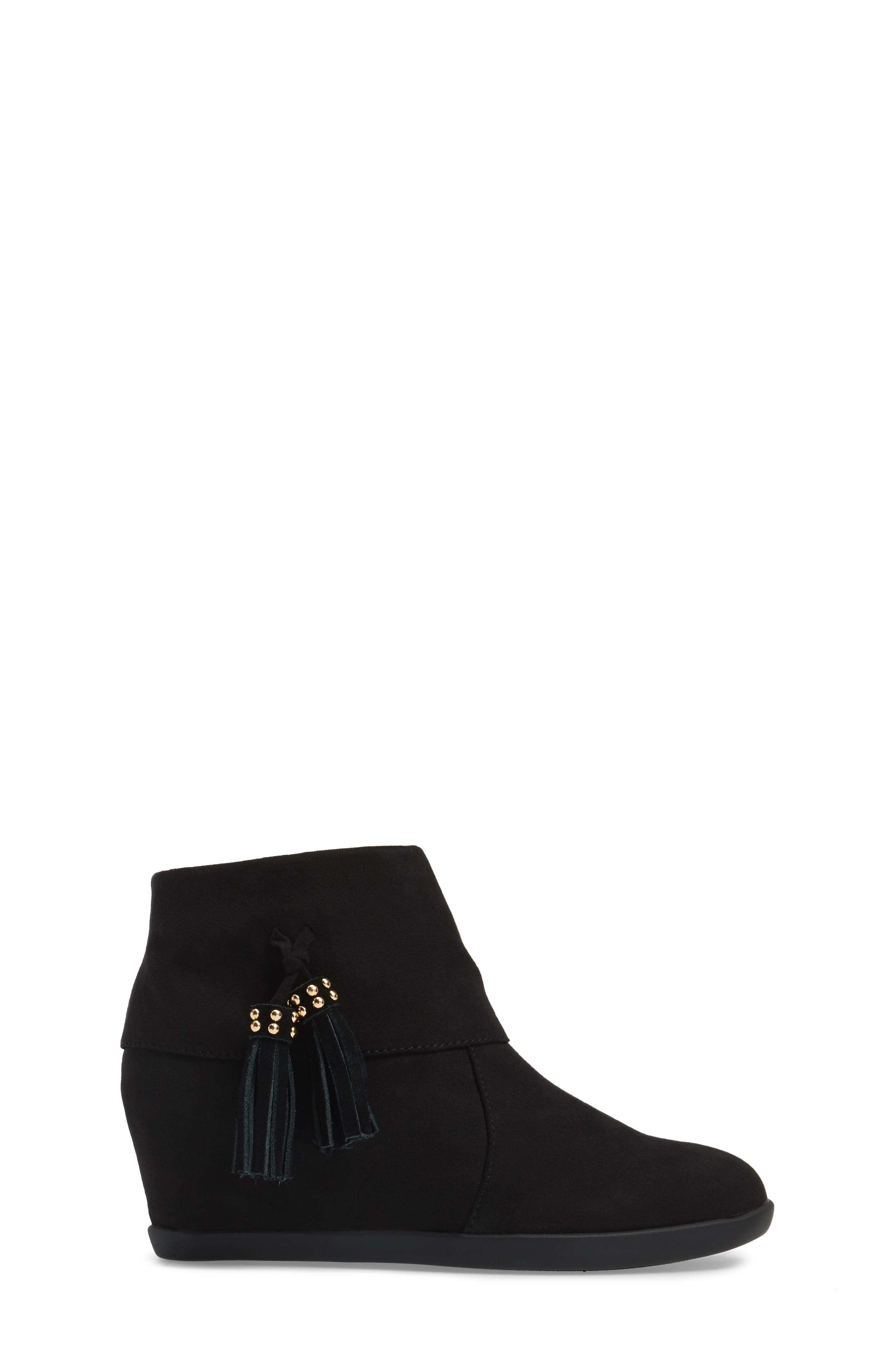 Valentina Cuff Concealed Wedge Bootie,                             Alternate thumbnail 3, color,                             Black