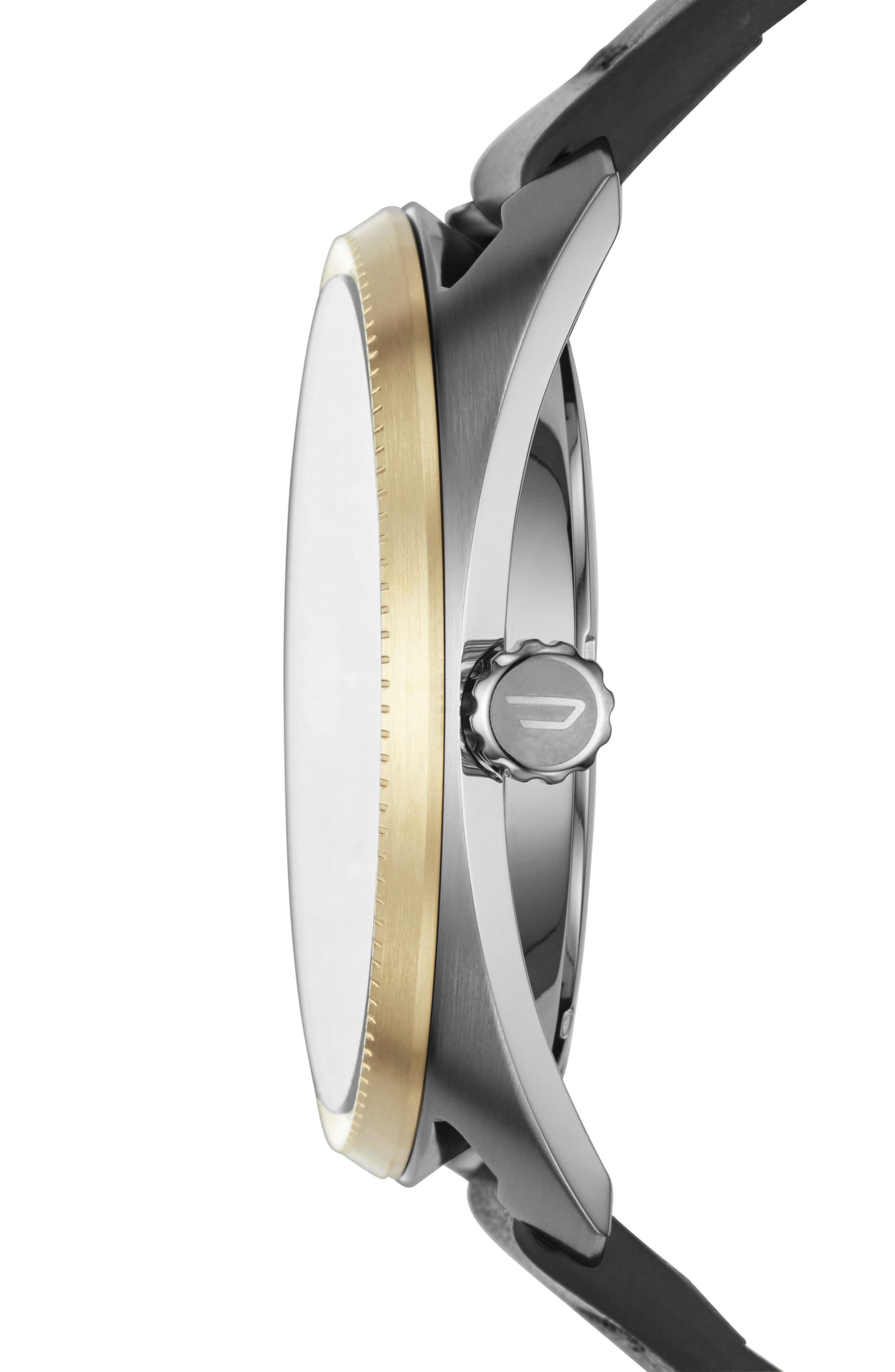 Alternate Image 2  - DIESEL® Fastbak Leather Strap Watch, 45mm x 51mm