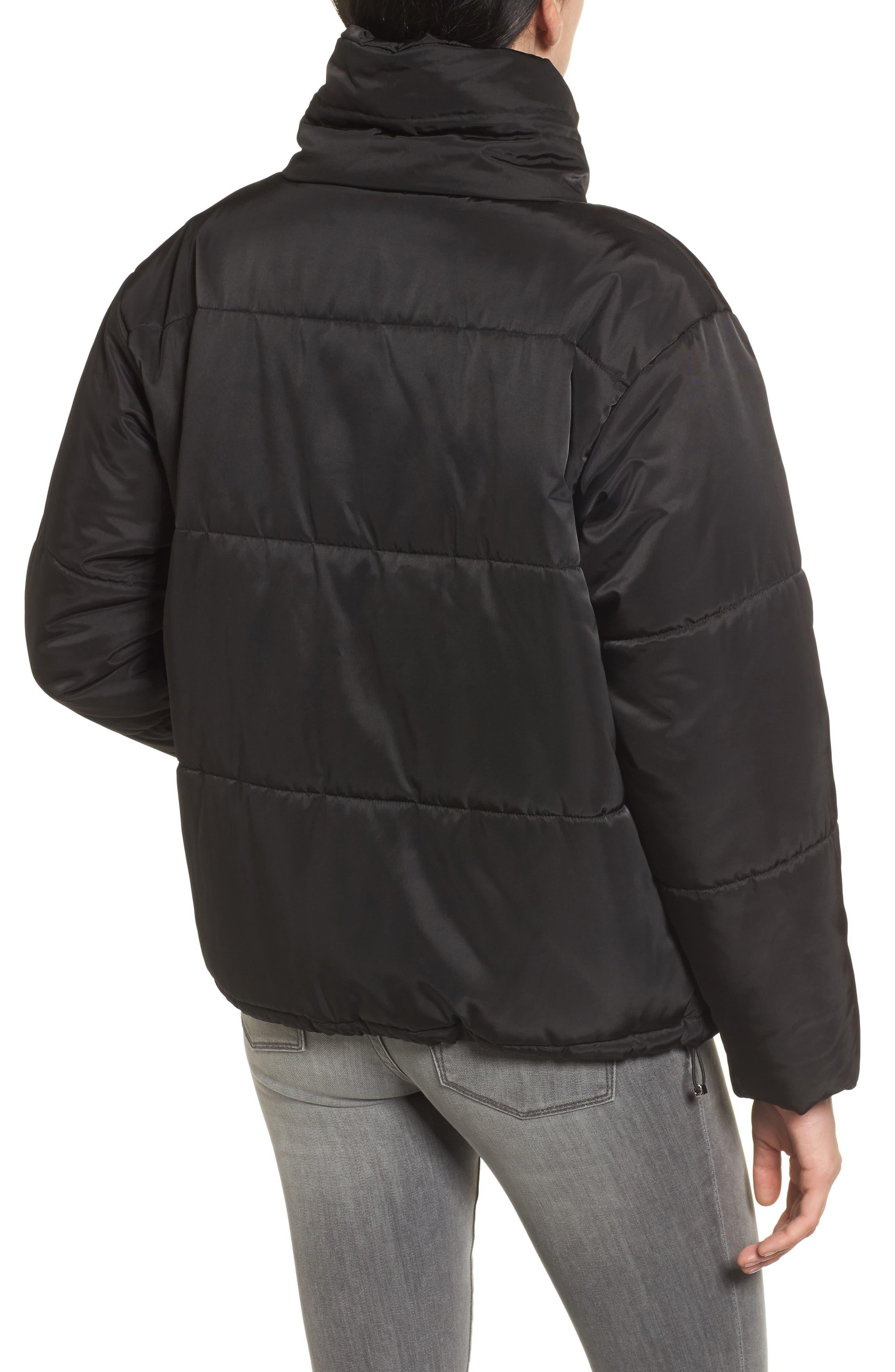 Oversize Puffer Jacket,                             Alternate thumbnail 2, color,                             Black