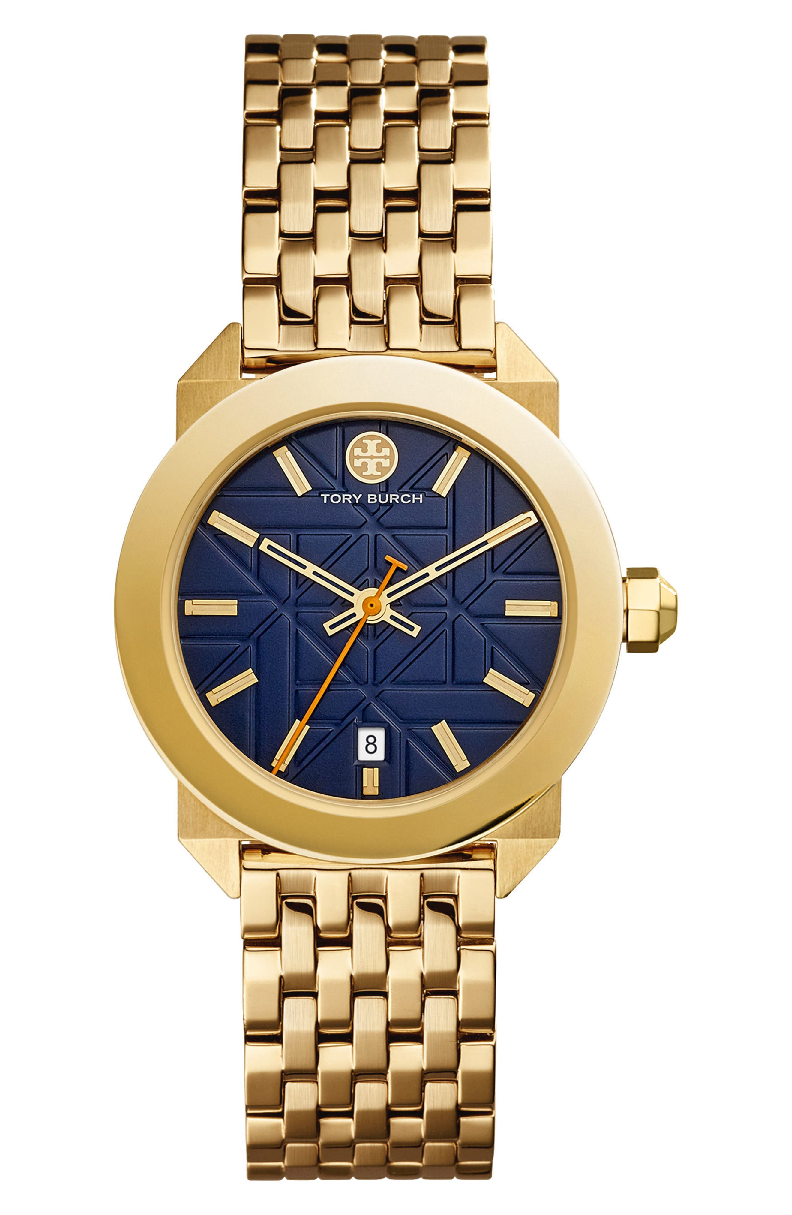 Whitney Bracelet Watch, 35mm,                             Main thumbnail 1, color,                             Gold/ Navy/ Gold