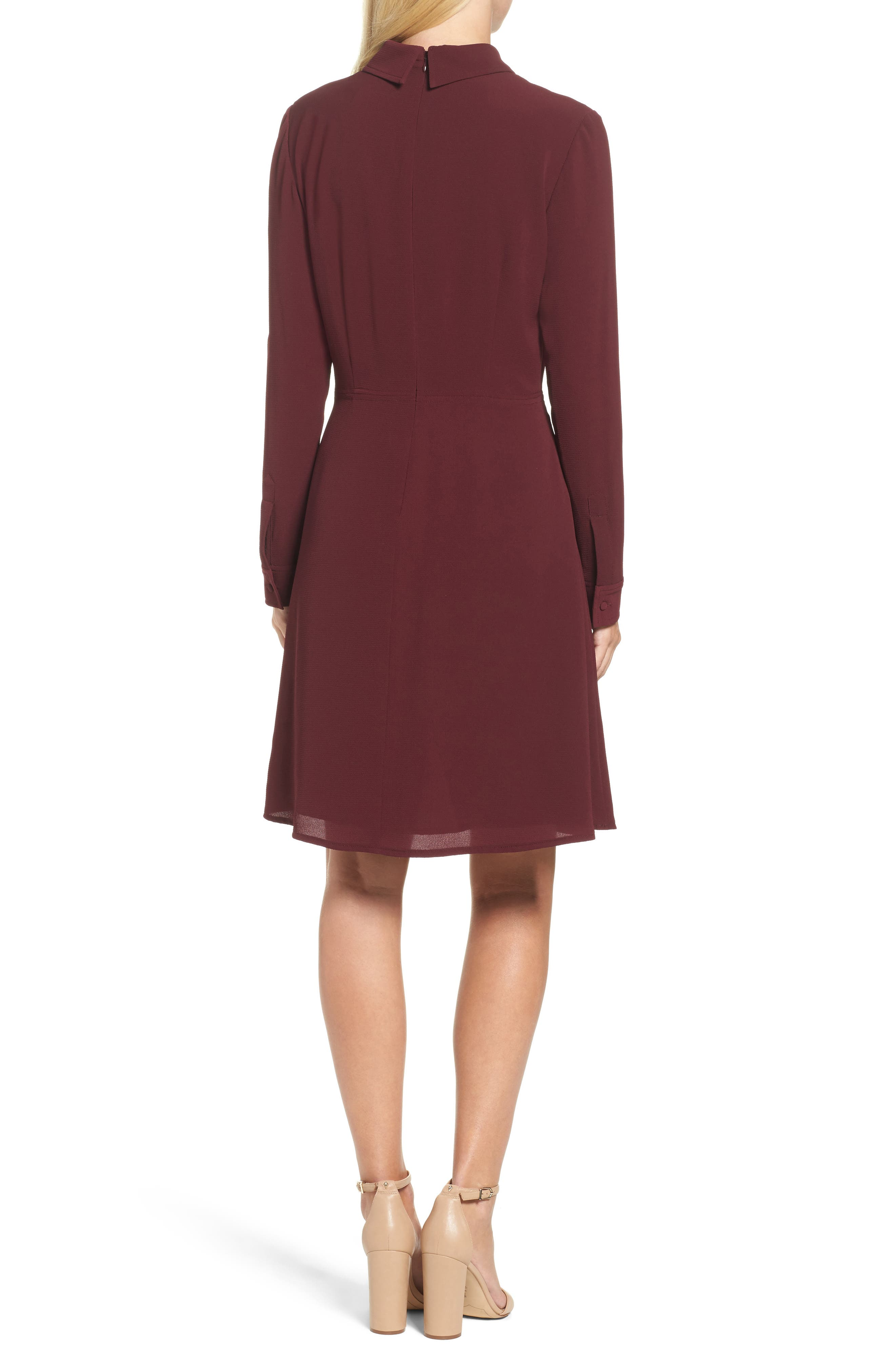 Crepe Bow Fit & Flare Dress,                             Alternate thumbnail 2, color,                             Wine