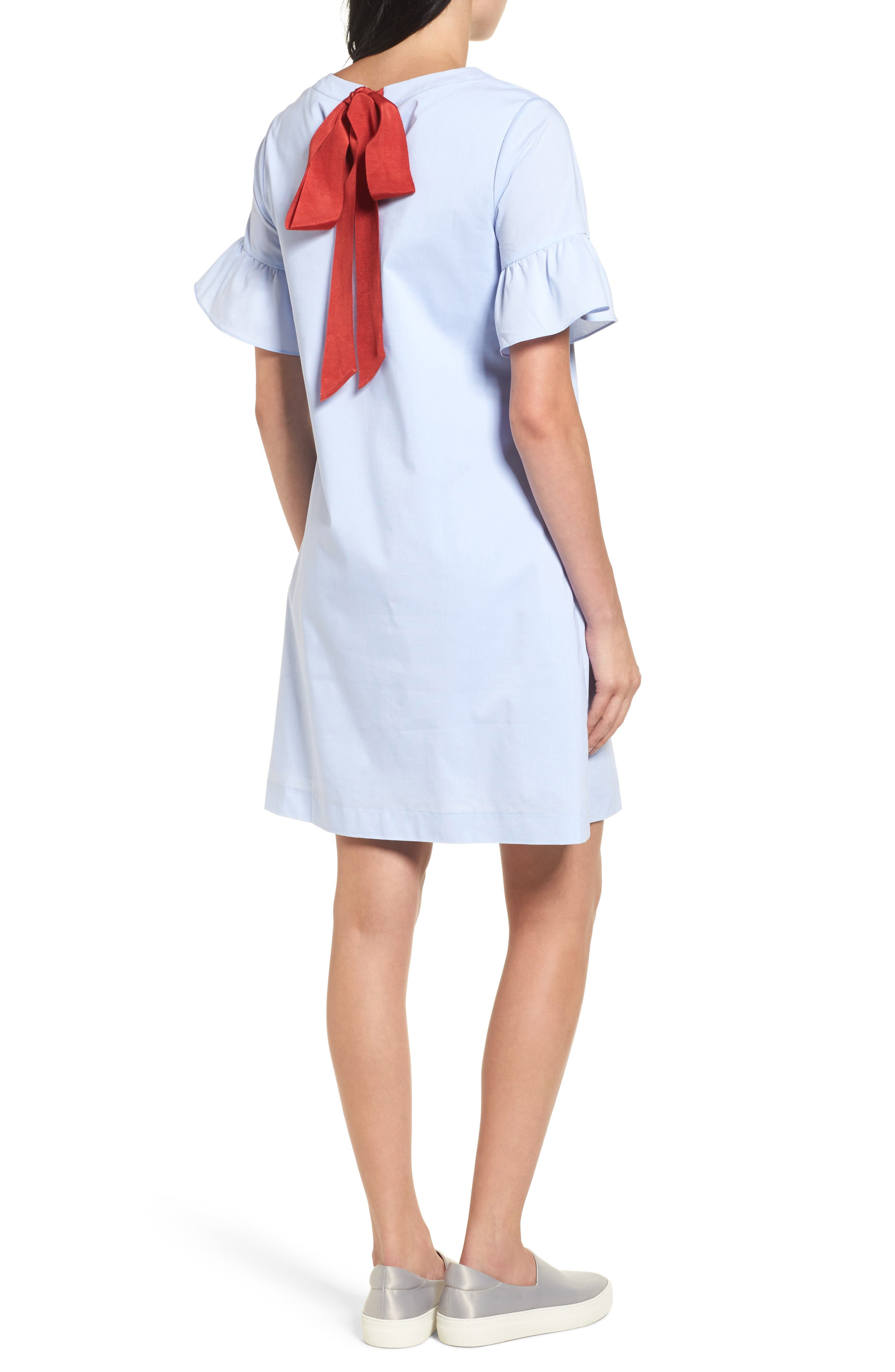Alternate Image 2  - Halogen® Tie Back Ruffle Sleeve Dress (Regular & Petite)
