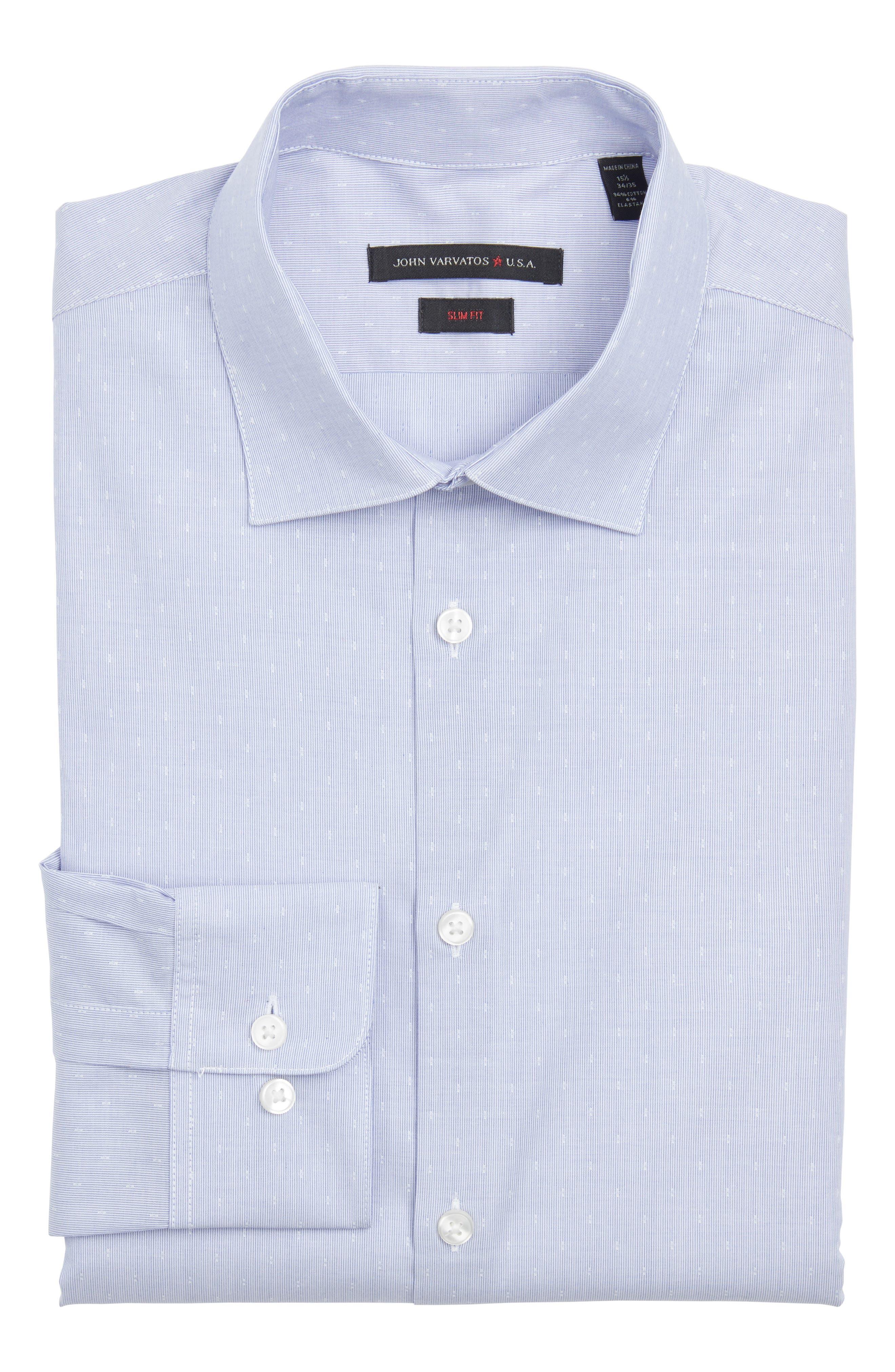 Slim Fit Stretch Stripe Dress Shirt,                         Main,                         color, Cornflower