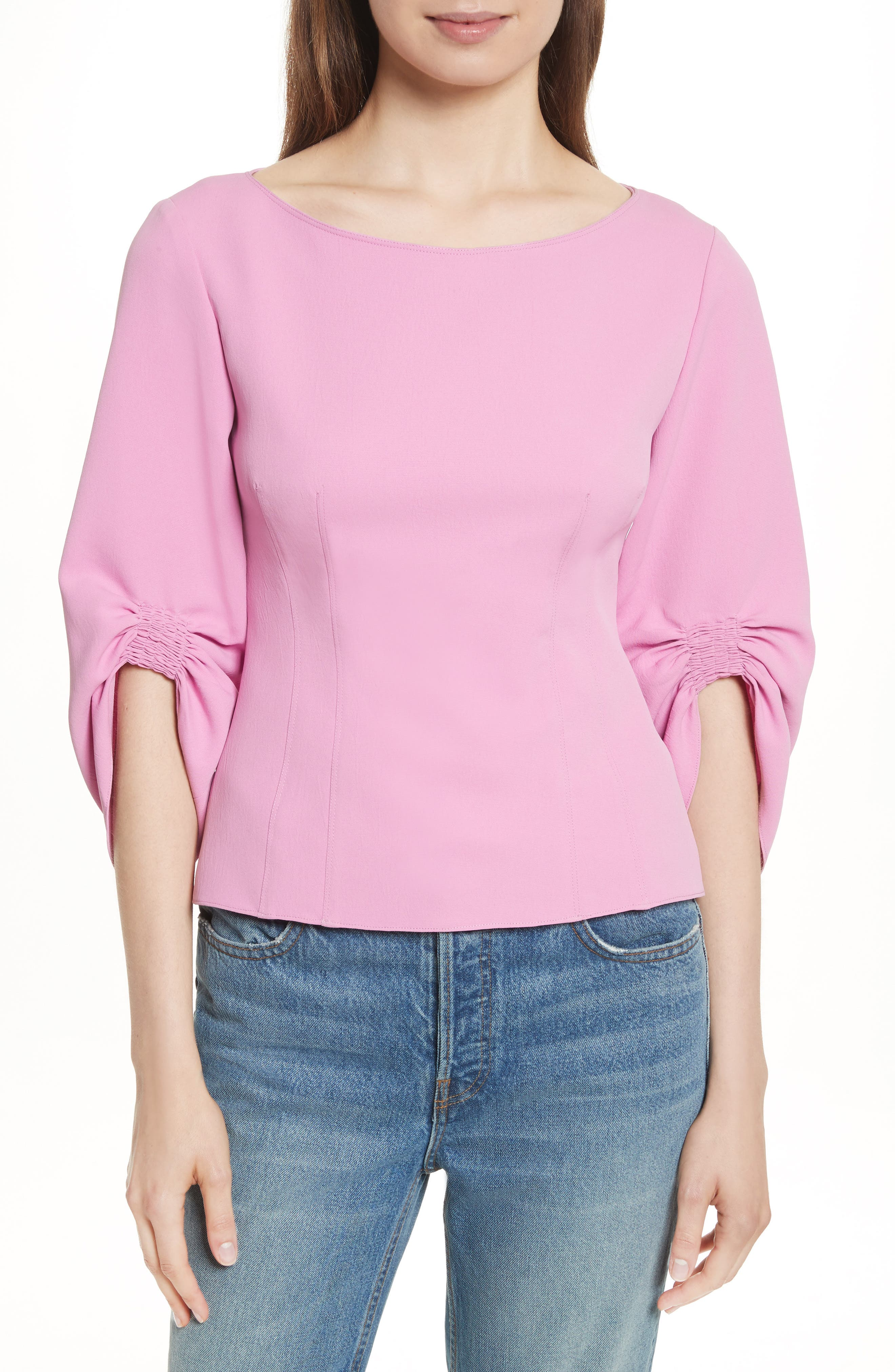 Draped Twill Corset Top,                         Main,                         color, Pink