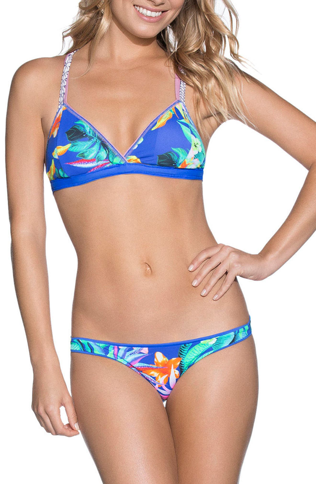 Neptune Blue Cocktail Reversible Bikini Top,                             Alternate thumbnail 5, color,                             Blue
