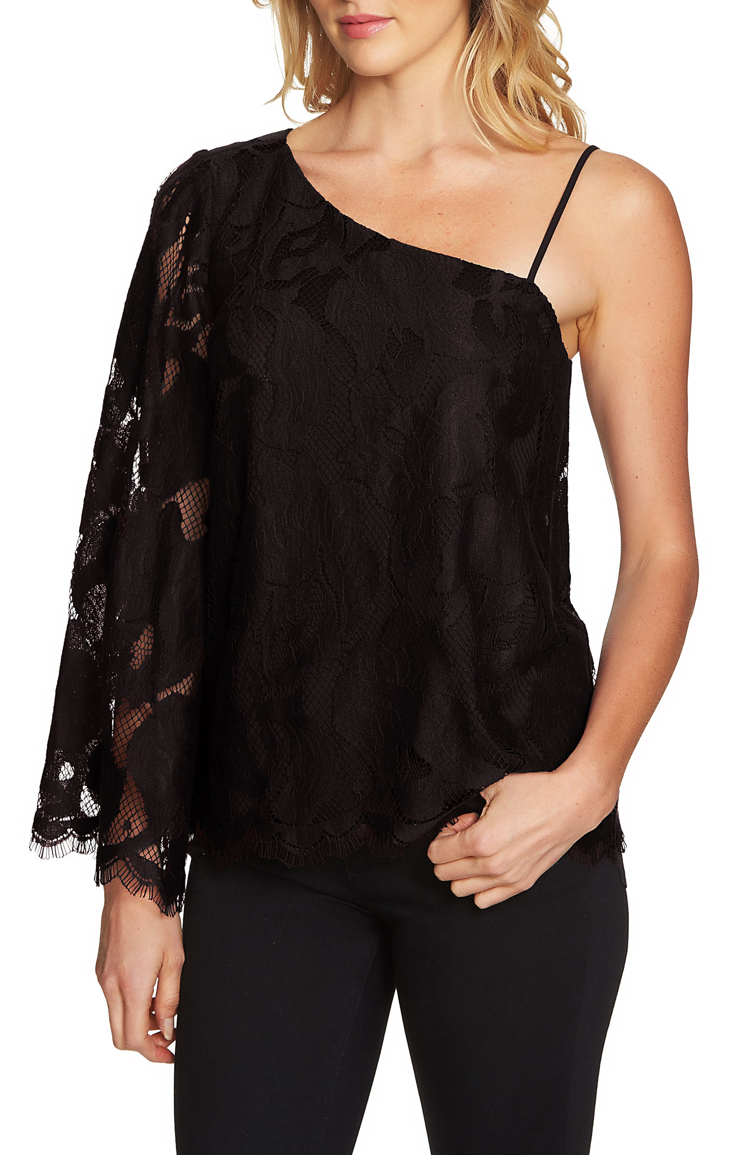 1.STATE One-Shoulder Lace Top