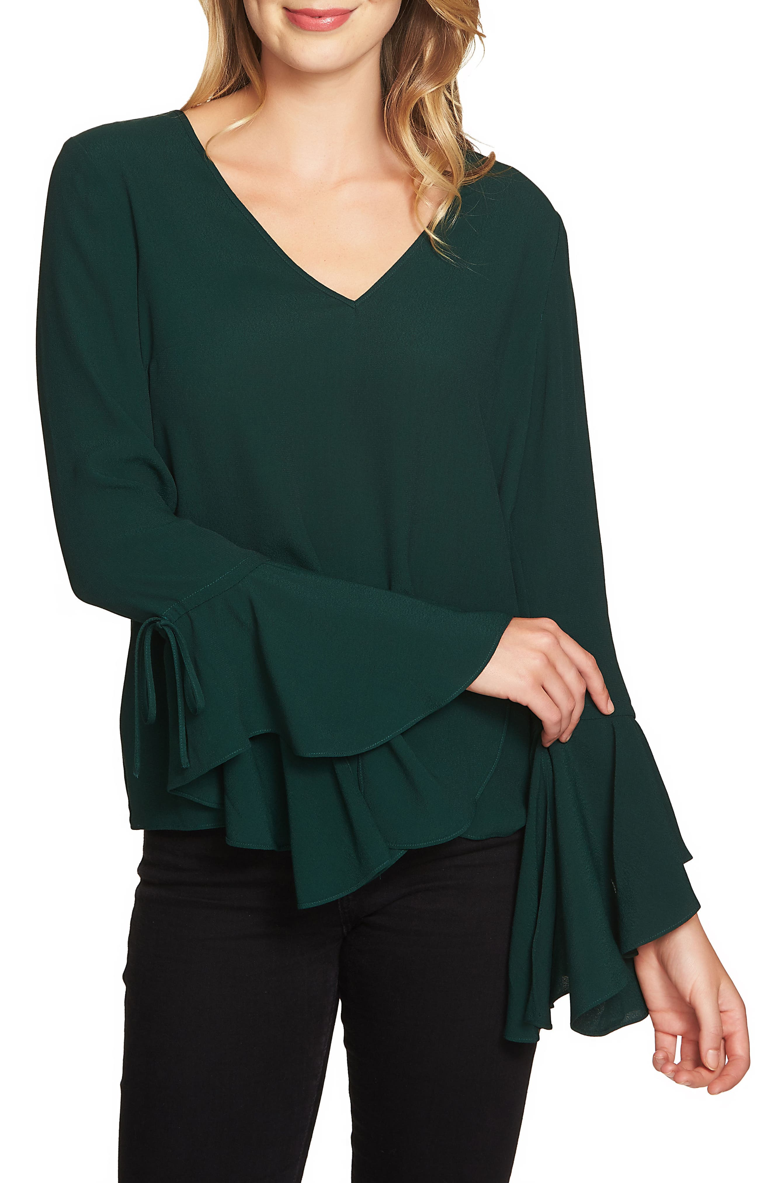 Cascade Sleeve Blouse,                             Main thumbnail 1, color,                             Jasper Green
