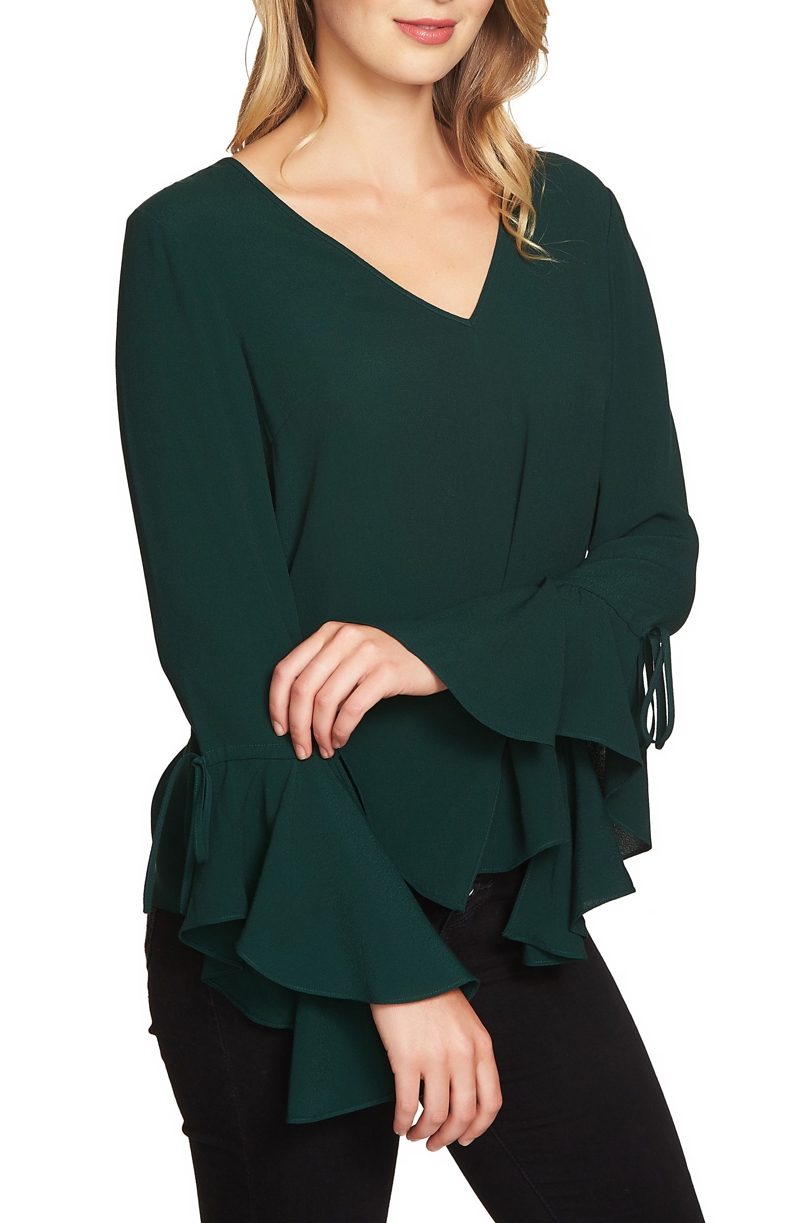 Cascade Sleeve Blouse,                             Alternate thumbnail 3, color,                             Jasper Green