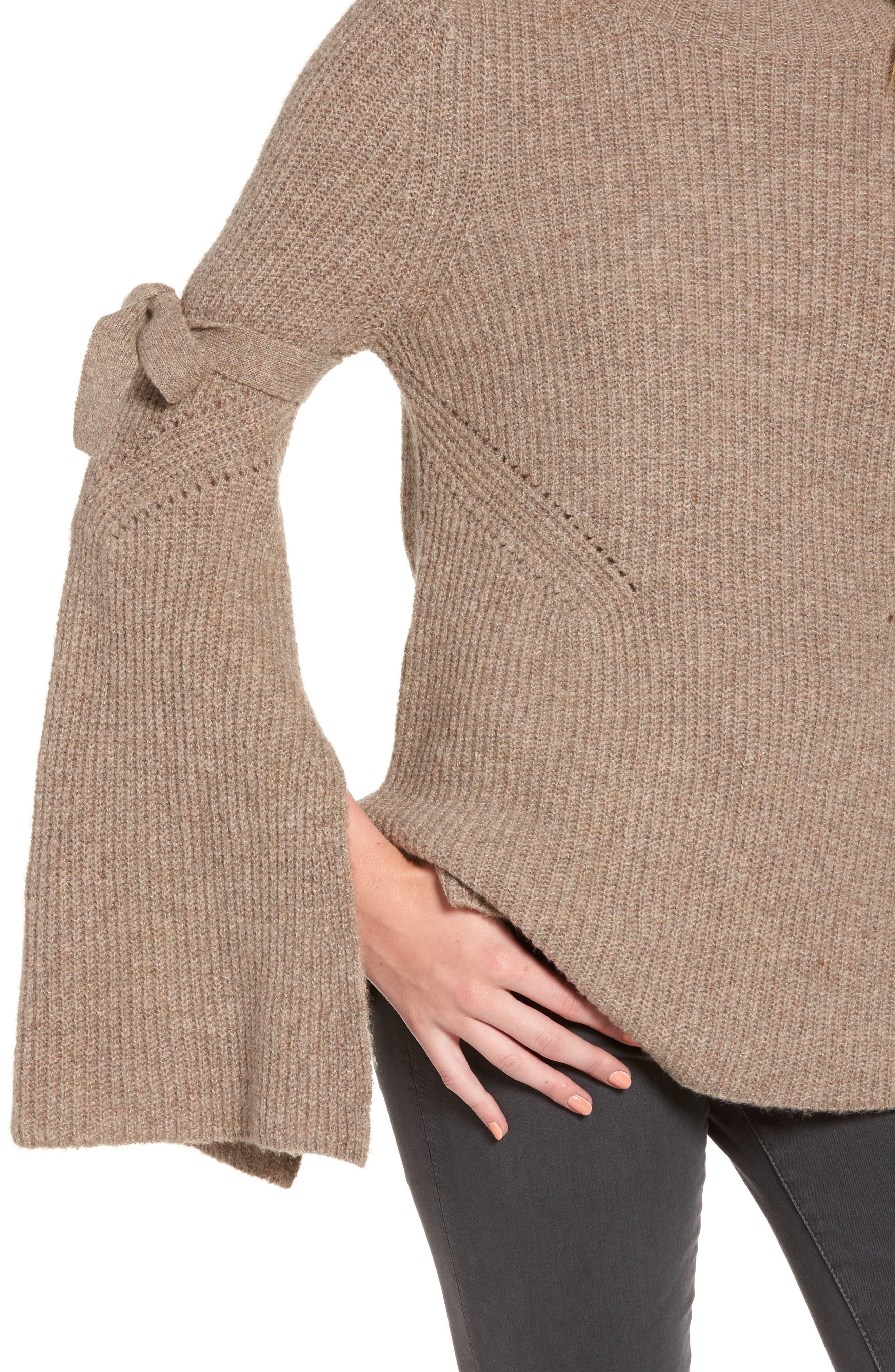 Alternate Image 4  - Chelsea28 Tie Bell Sleeve Sweater