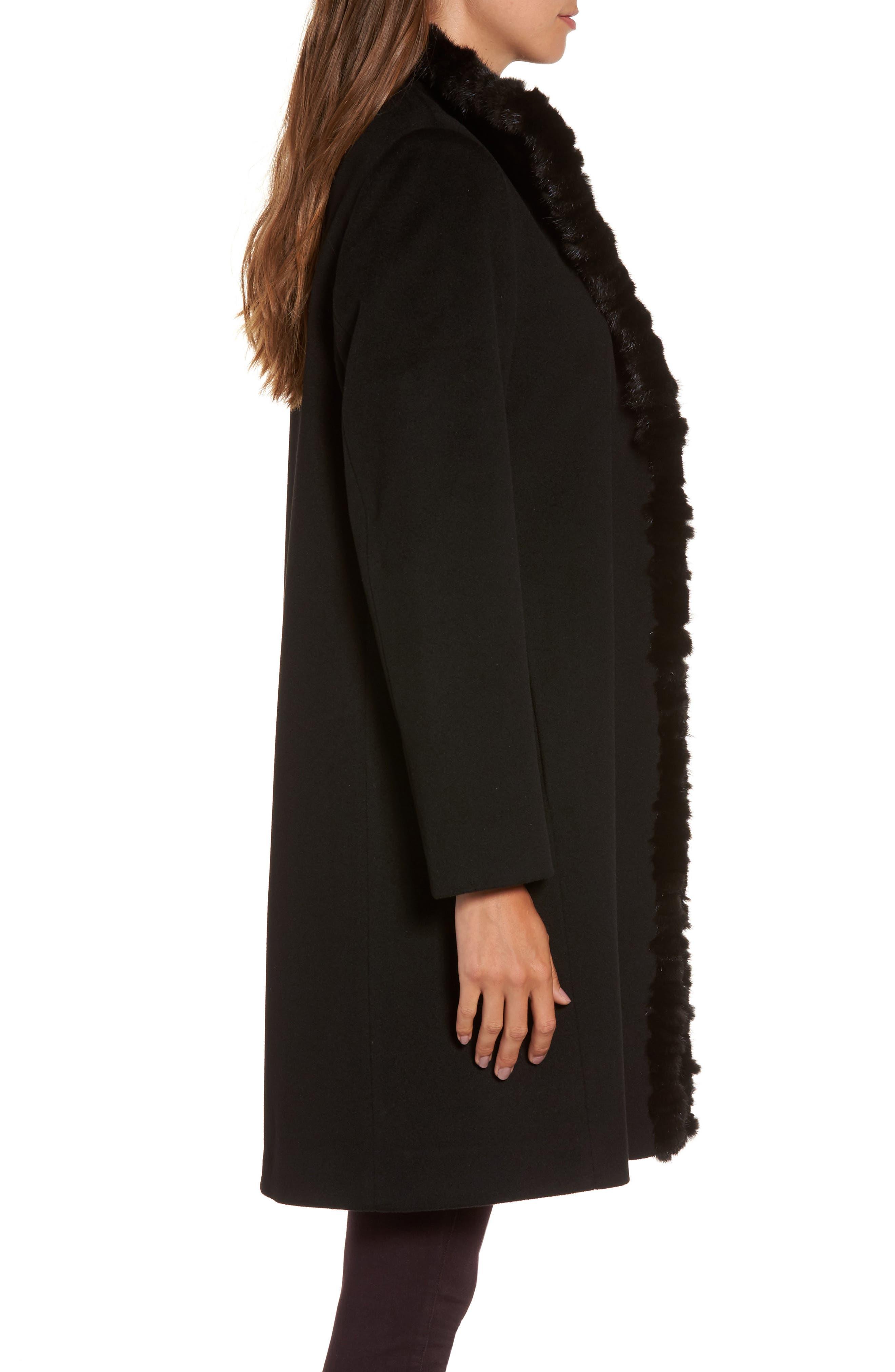 Loro Piana Wool Wing Collar Coat with Genuine Mink Trim,                             Alternate thumbnail 3, color,                             Black
