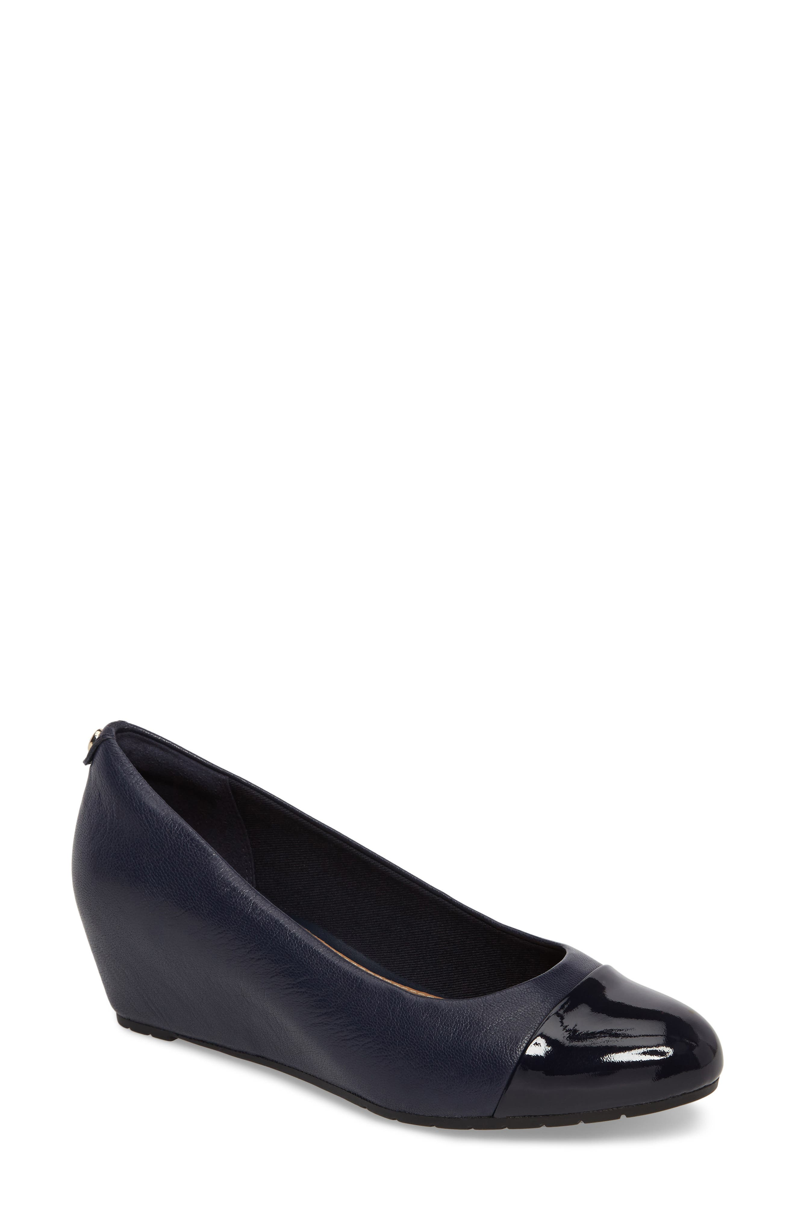 Vendra Dune Wedge Pump,                         Main,                         color, Navy Leather