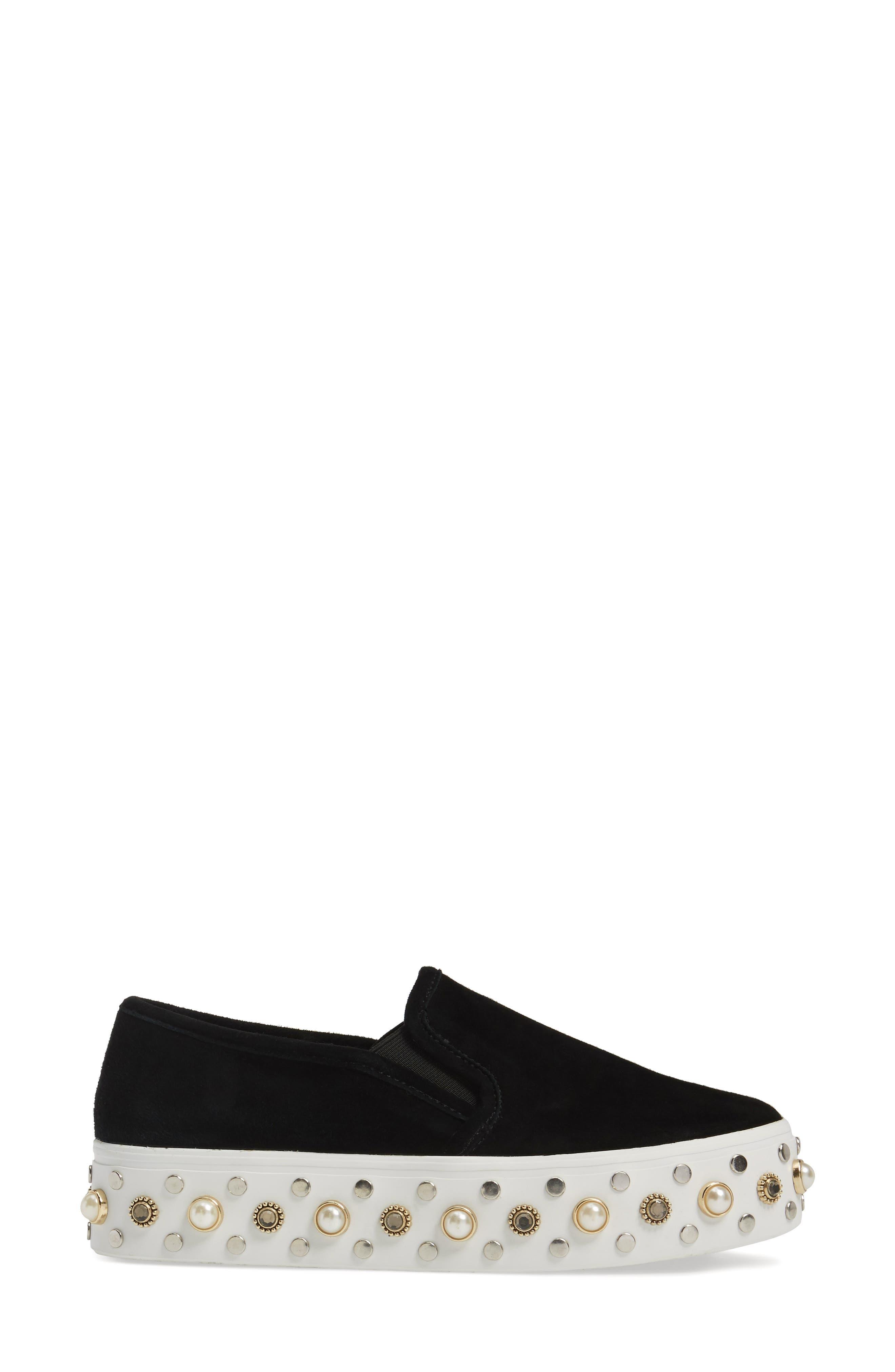Glitzy Slip-On Sneaker,                             Alternate thumbnail 3, color,                             Black Suede