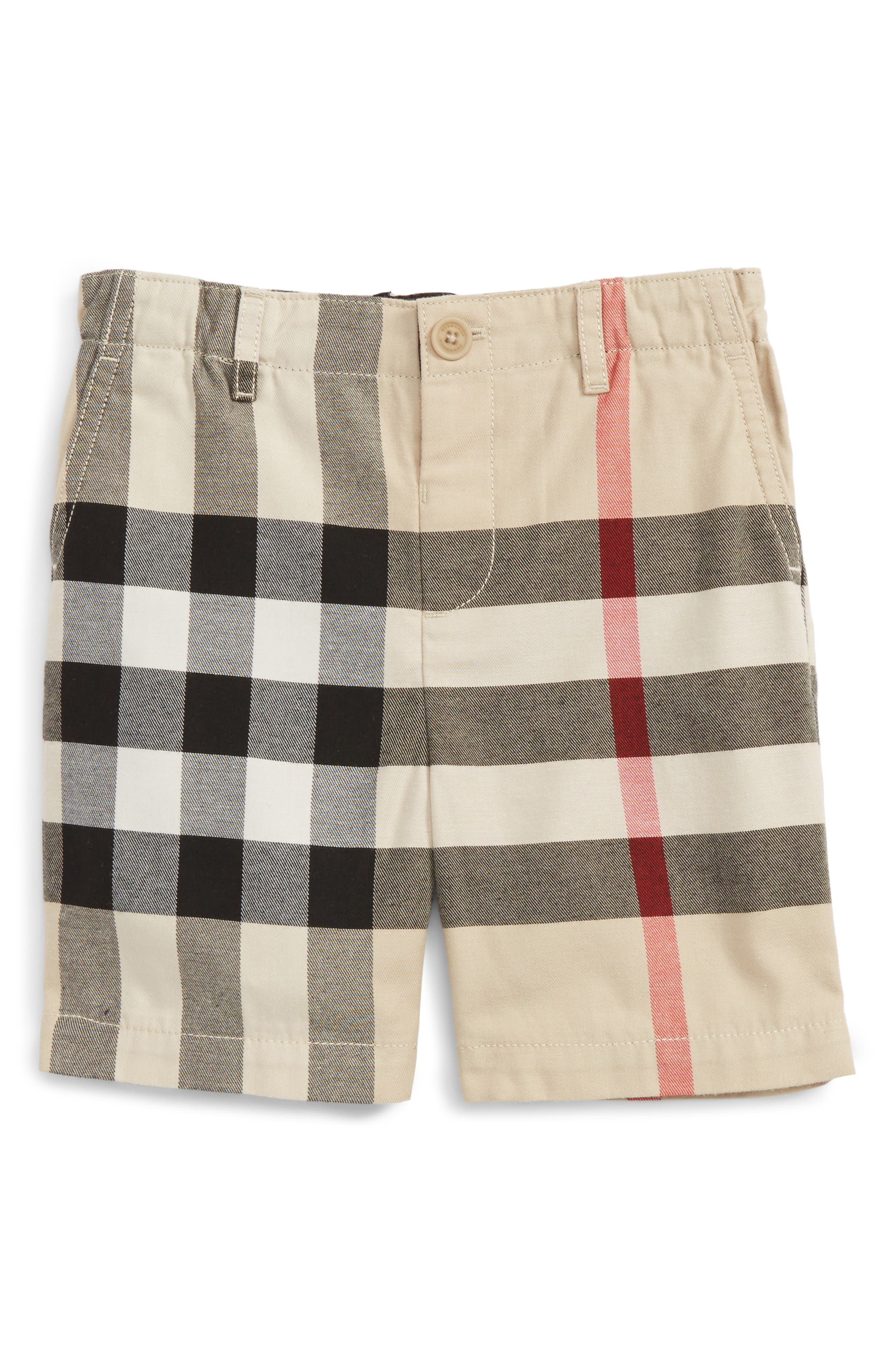 Alternate Image 1 Selected - Burberry Sean Check Print Shorts (Baby Boys)