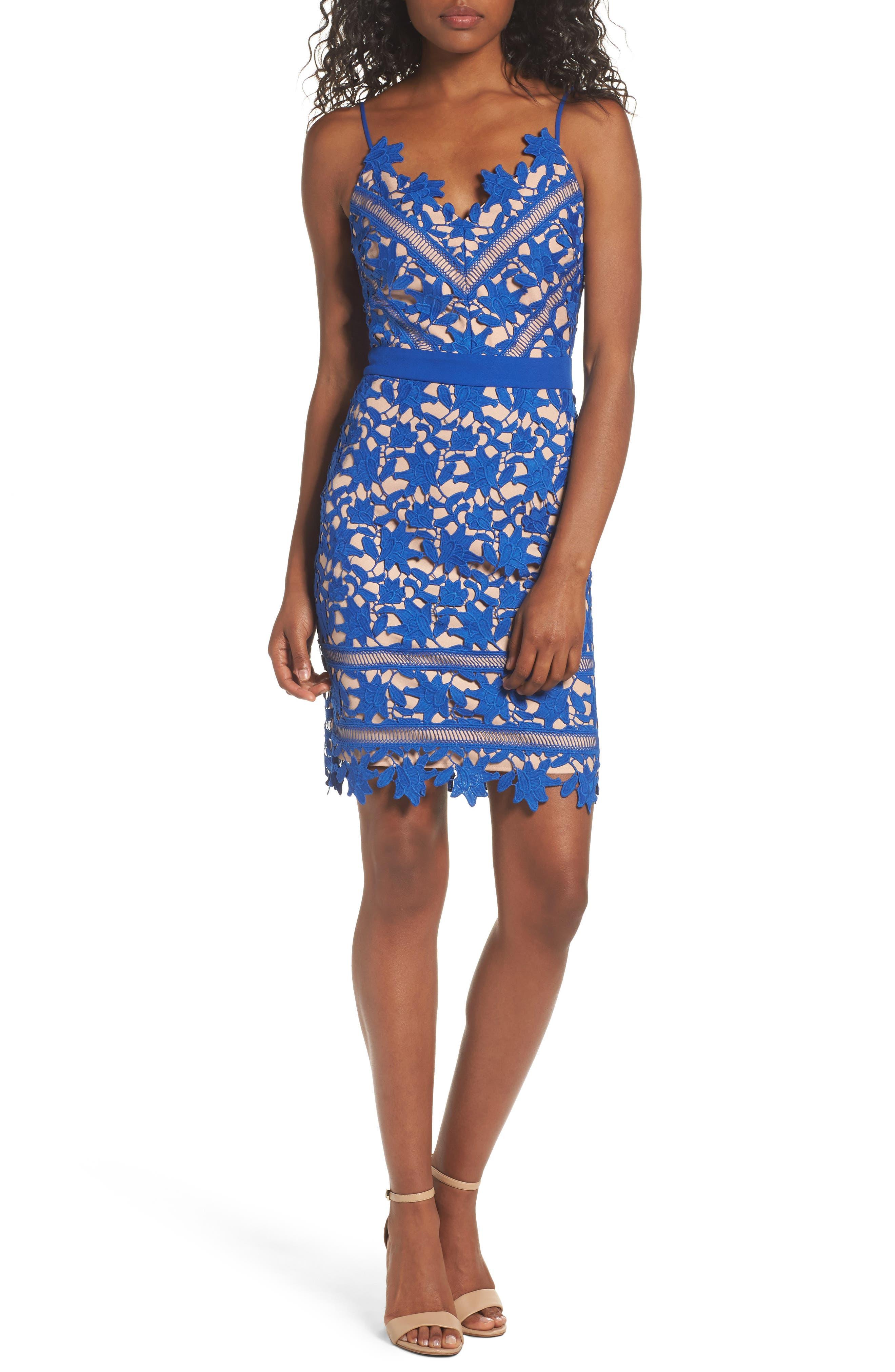 Whitney Lace Sheath Dress,                             Main thumbnail 1, color,                             Blue