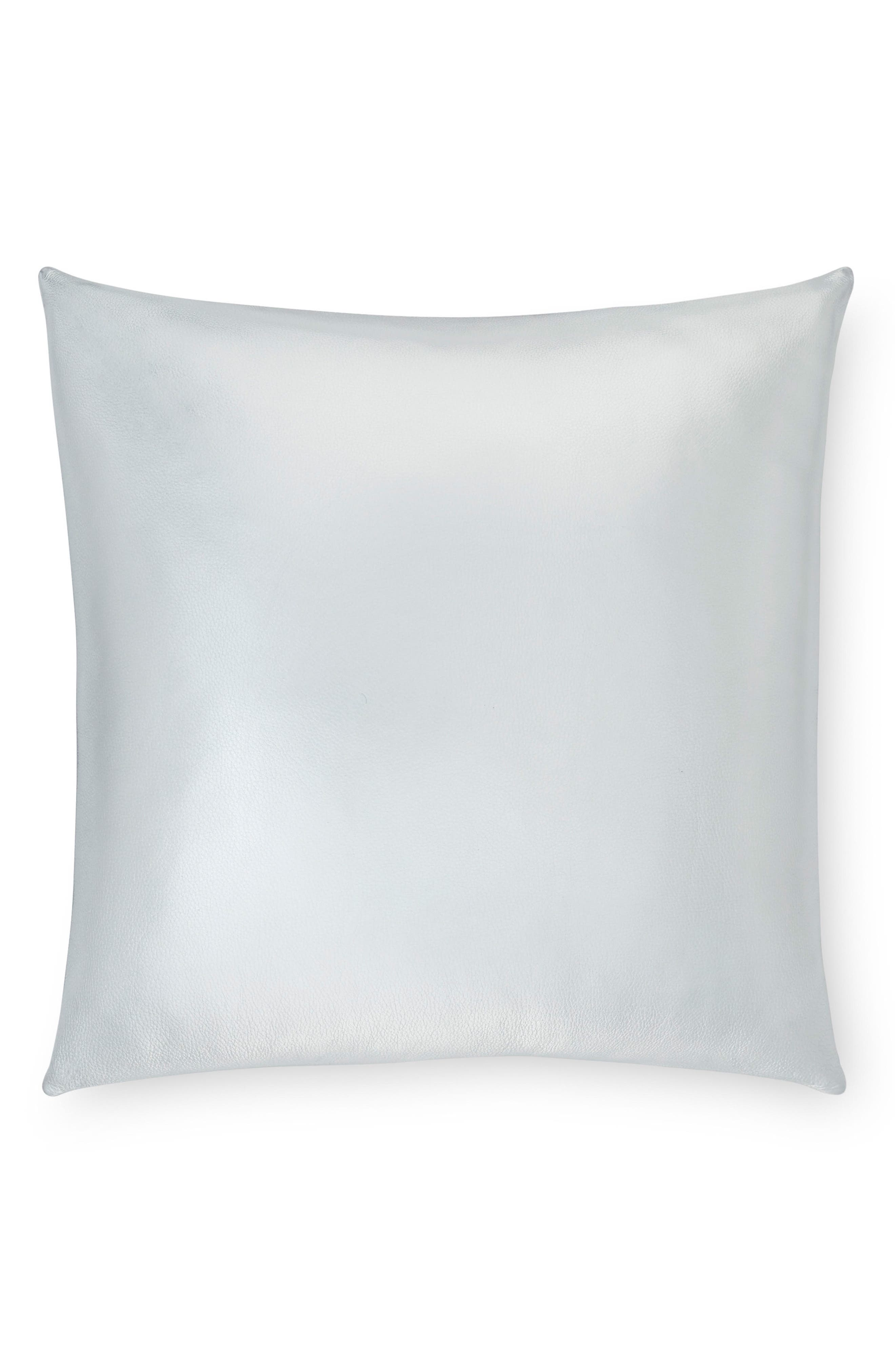 Satta Leather Accent Pillow,                             Main thumbnail 1, color,                             Silver